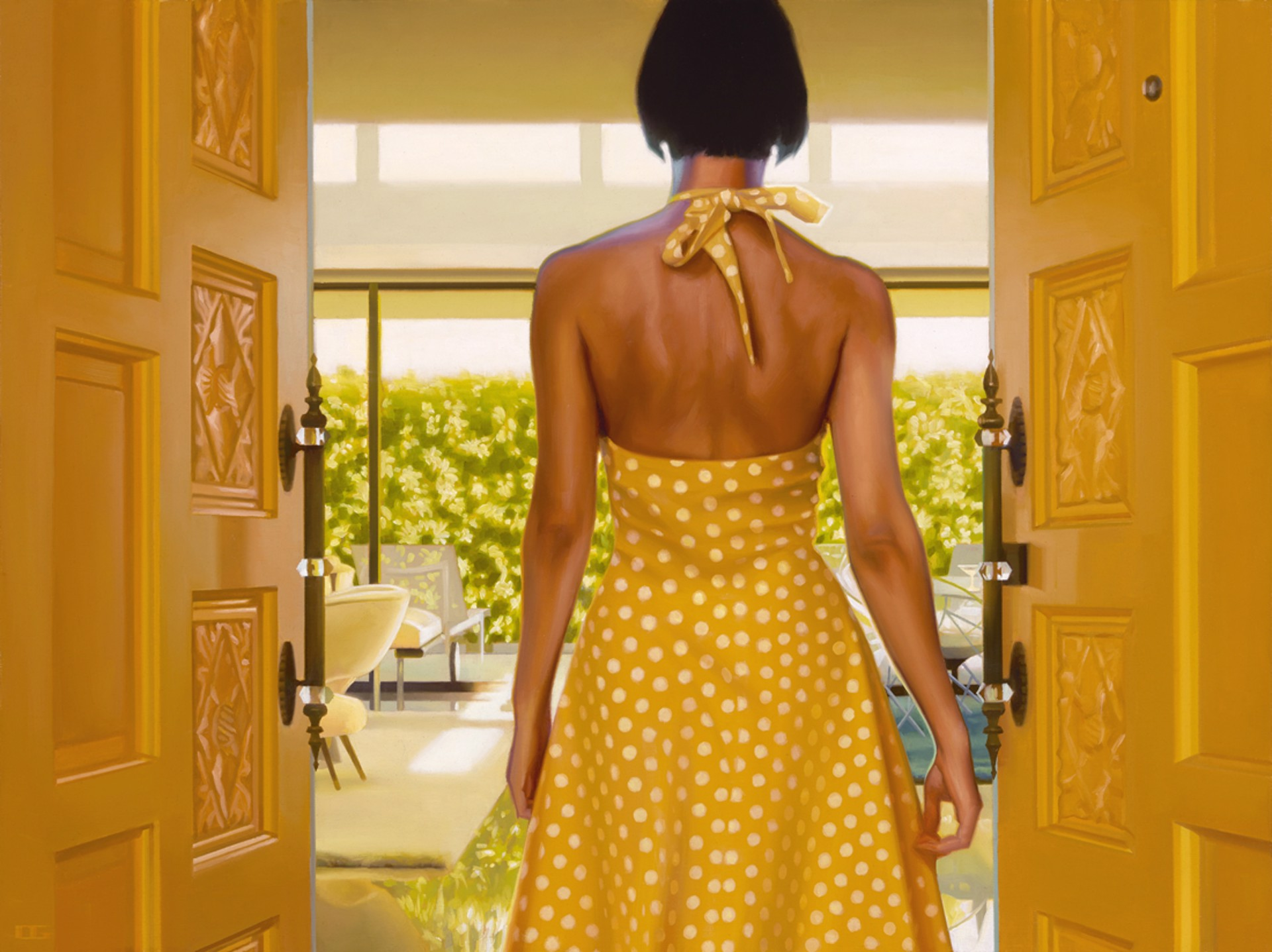 Yellow Polka Dot Martini by Carrie Graber
