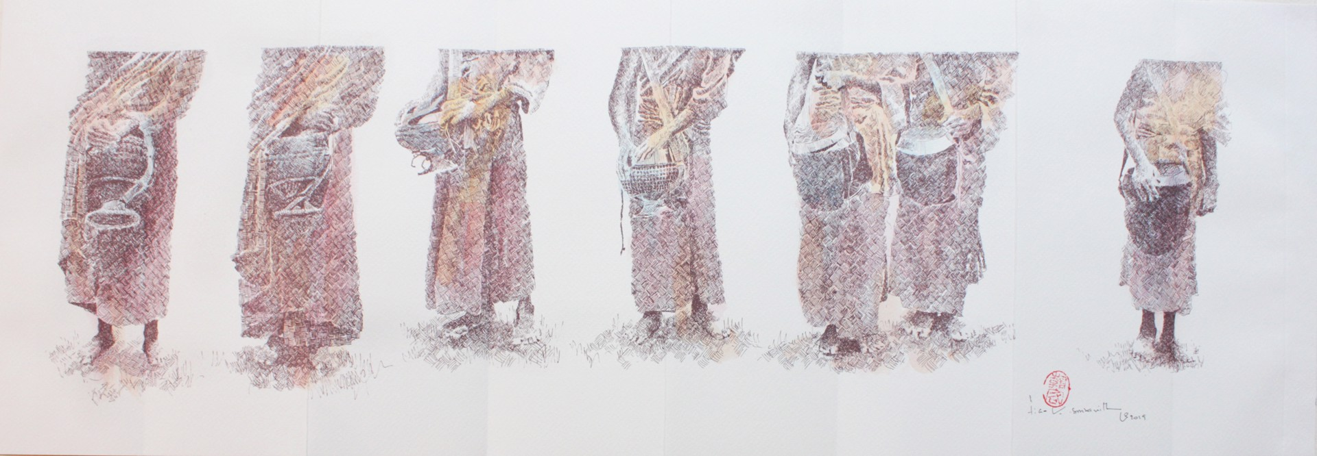 Alms Giving Procession: Print Series III by Tiao Nithakhong Somsanith