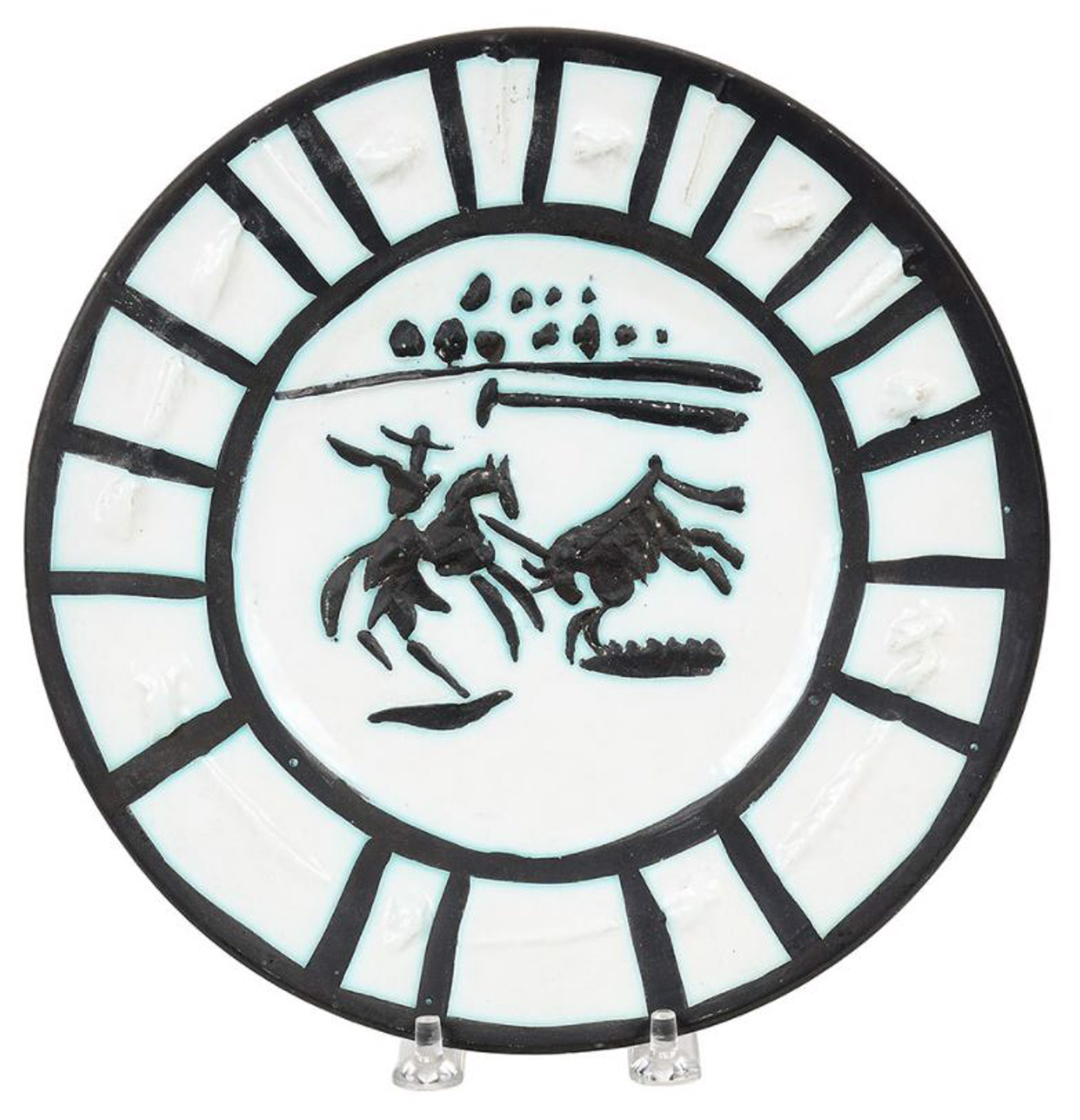 Circular White Pablo Picasso Ceramic Plate showing a hand drawn  Spanish bullfighter in black