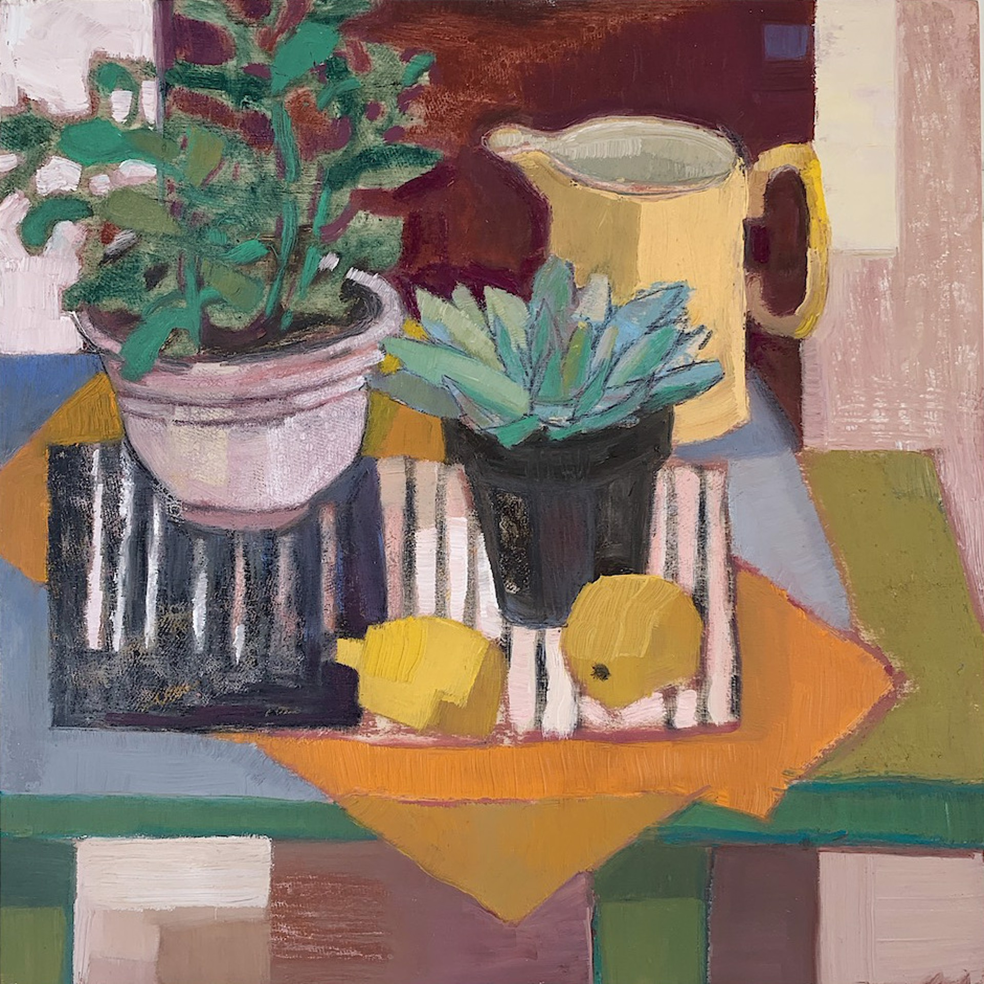 Succulents and Yellow Pitcher by Maggie Shepherd