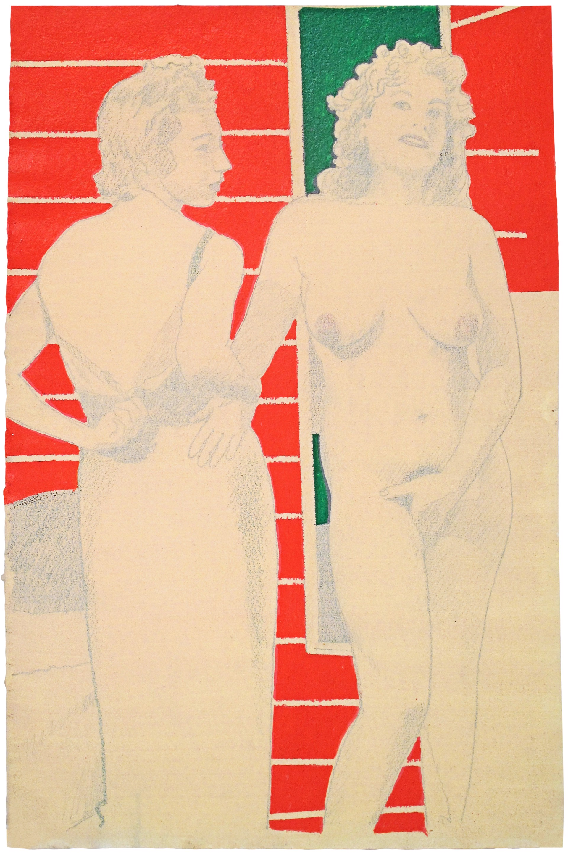 Two Women, Orange and Green Background by David Chapin
