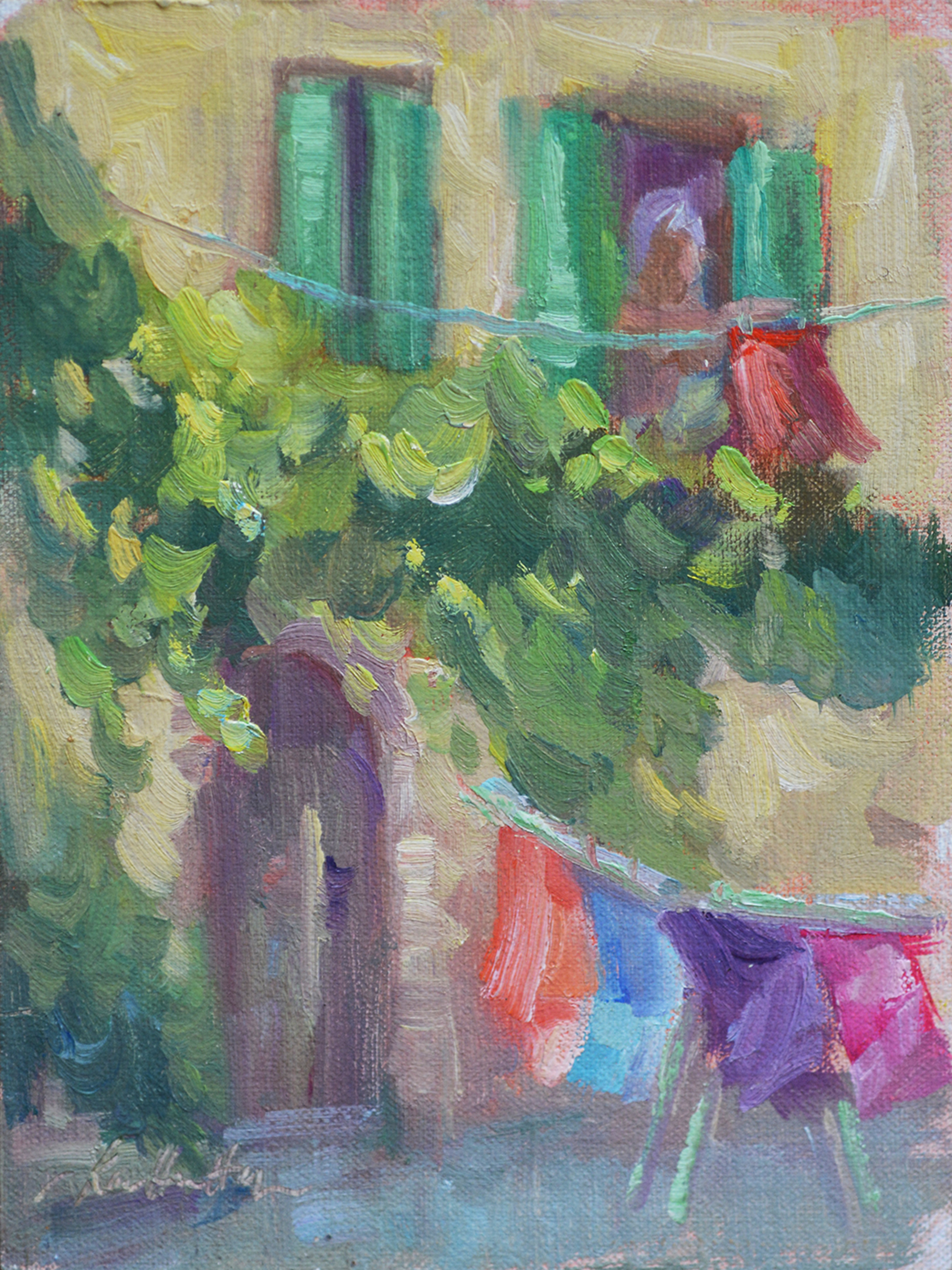 Lady in the Window at San Giovanni d'Asso by Karen Hewitt Hagan