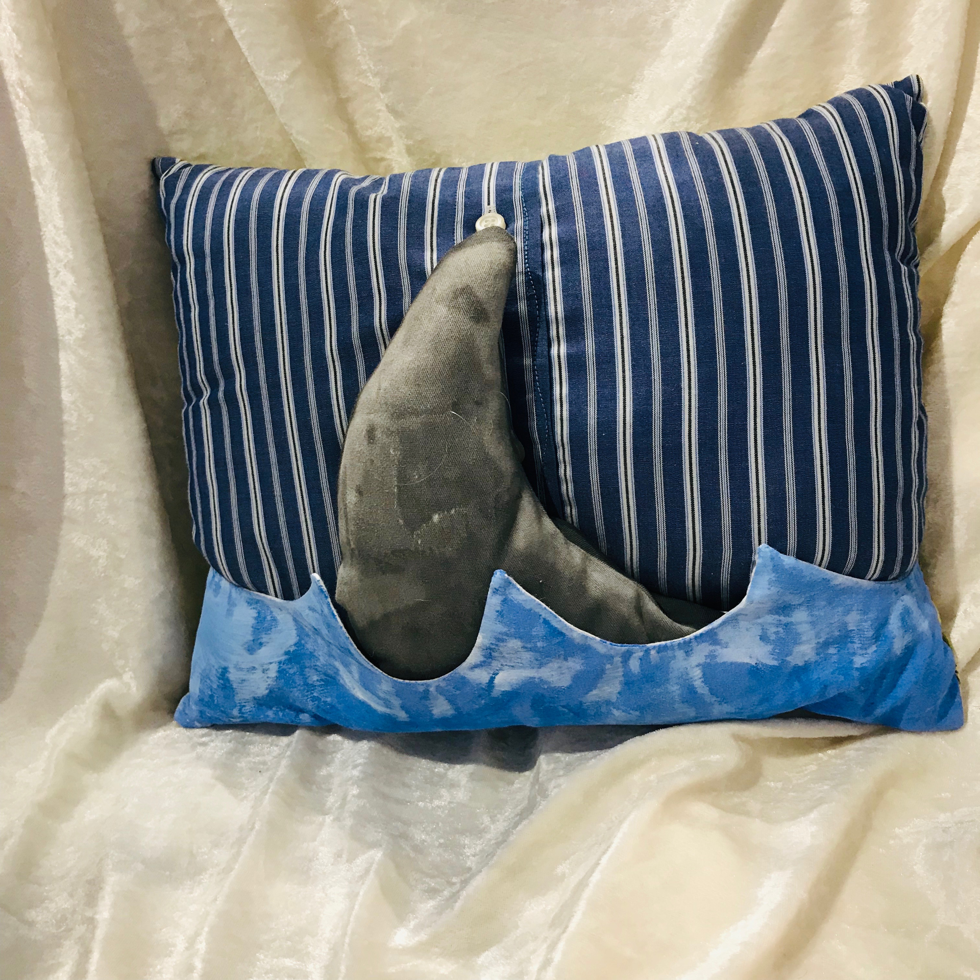 Shark fin pillow by Jeannie Rounsefell