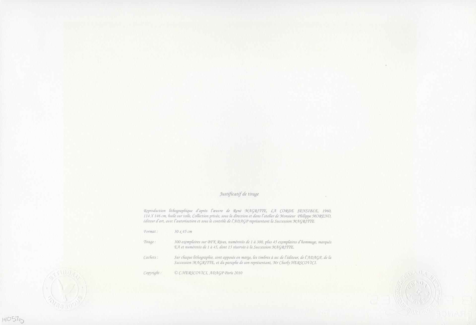 La Corde Sensible (Heartstring) by Rene Magritte
