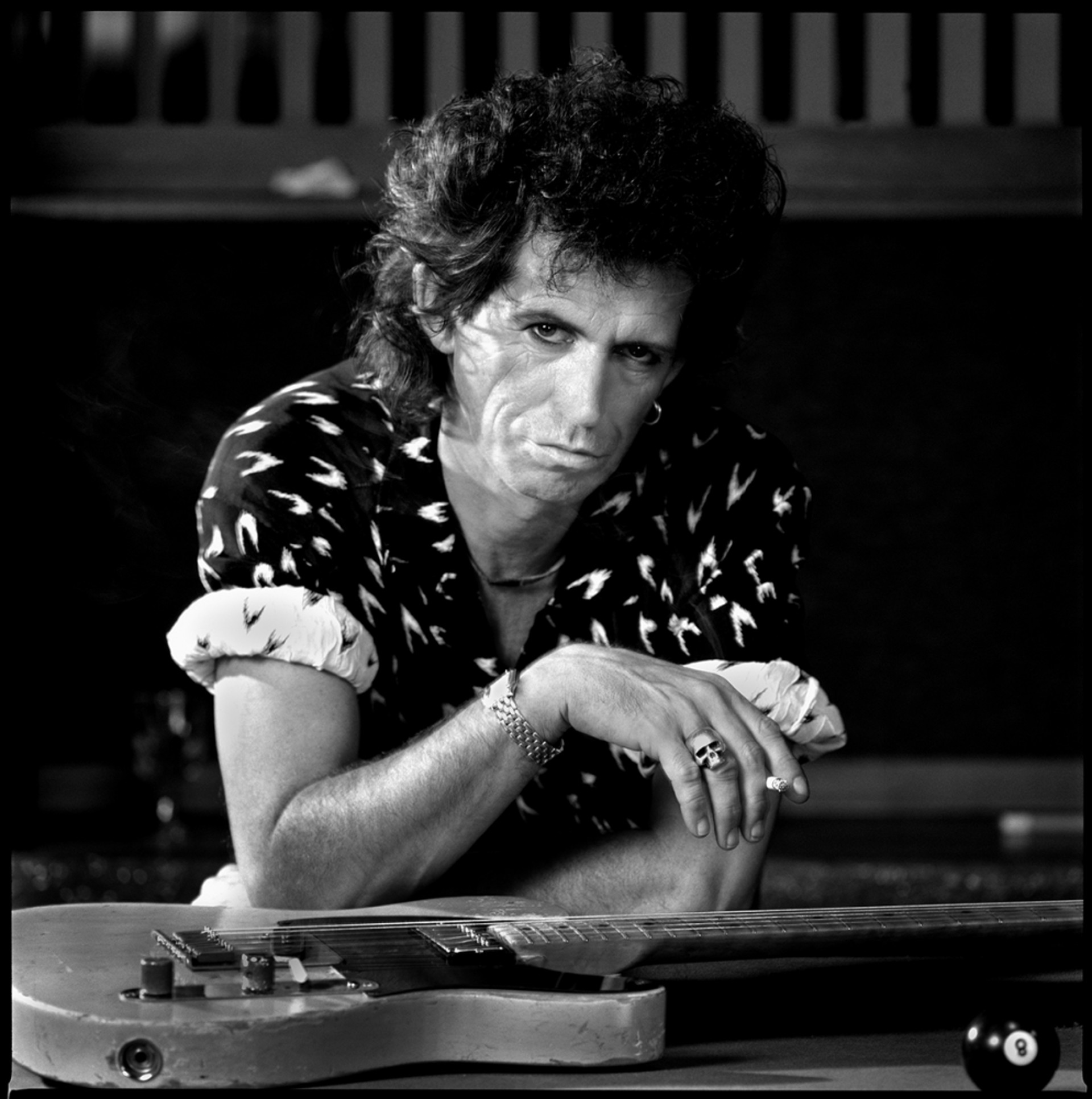 88146 Keith Richards Pool Table BW by Timothy White