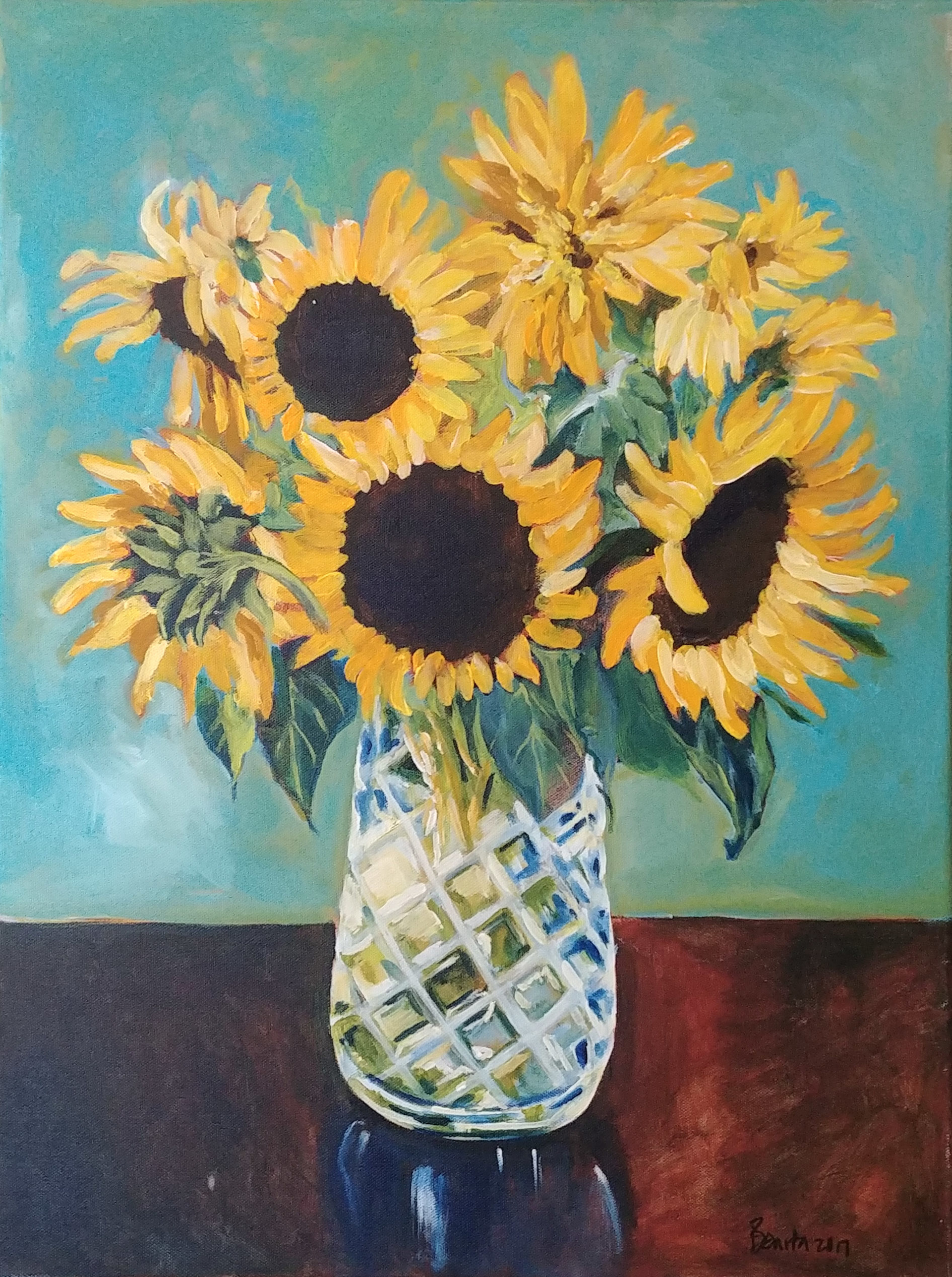 Sunflowers in Crystal by Benita Cole (McMinnville, OR)