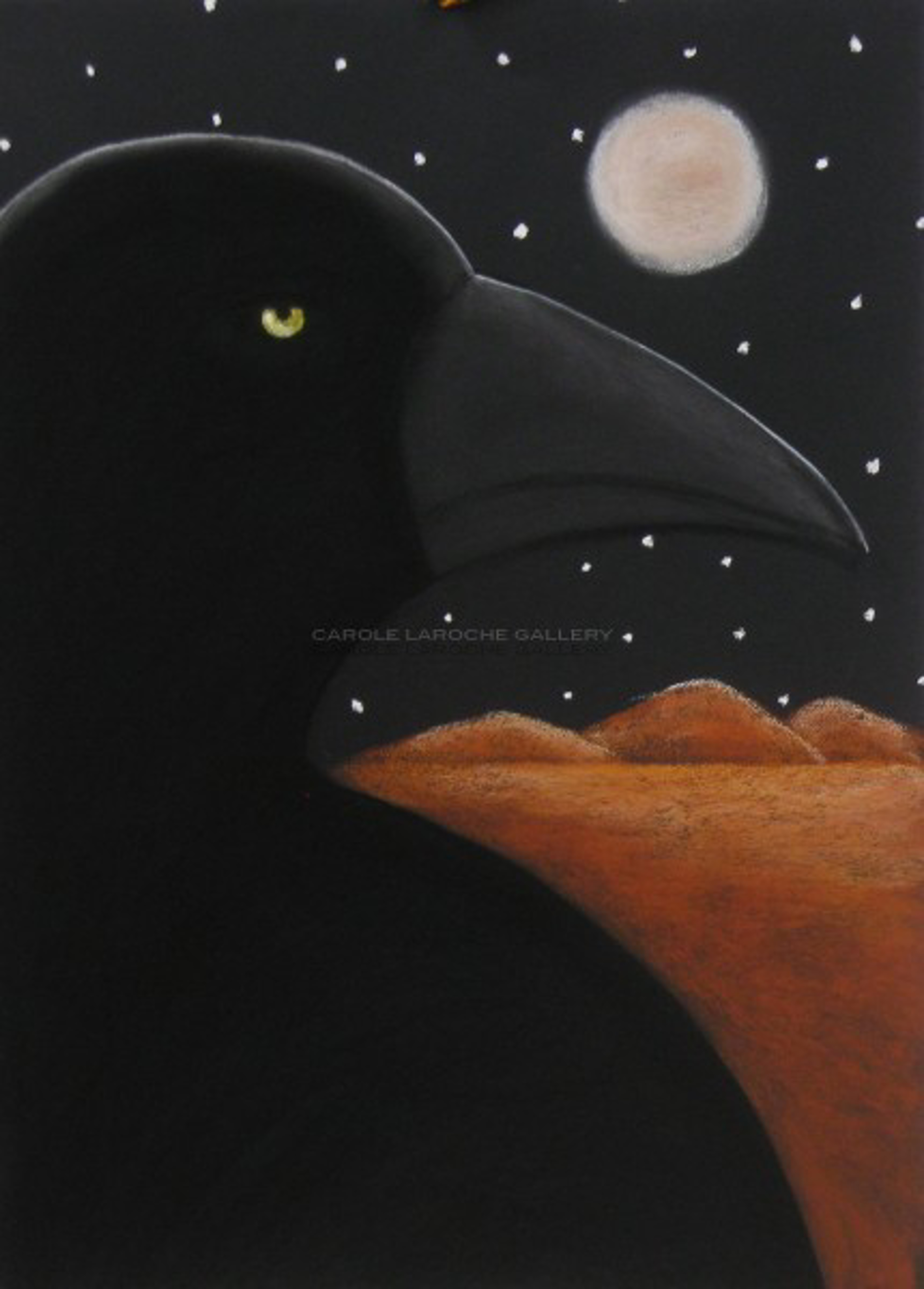 """MIDNIGHT RAVEN - limited edition giclee on paper w/frame size of 40""""x32"""" or limited edition giclee on canvas 38""""x28""""  $2200 by Carole LaRoche"""