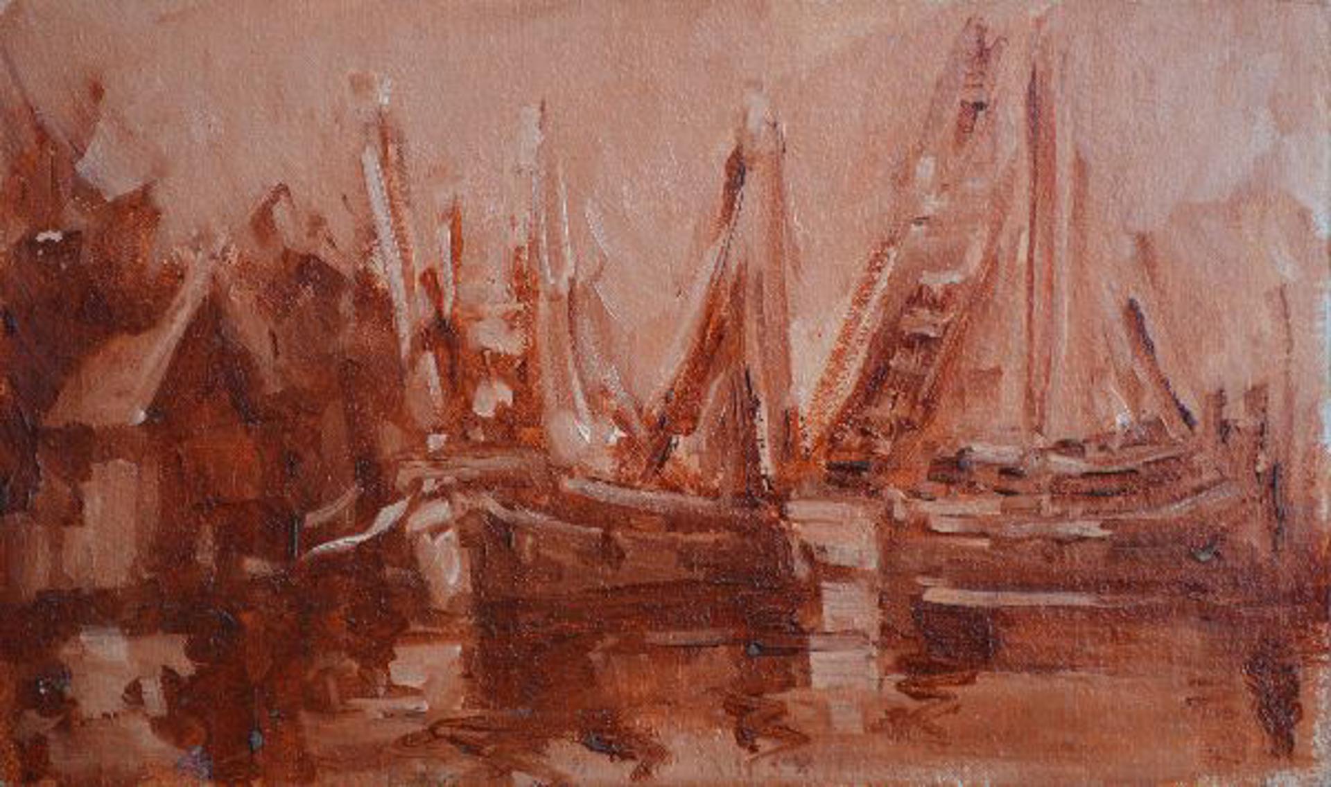 Shrimp Boats in Sienna by Karen Hewitt Hagan