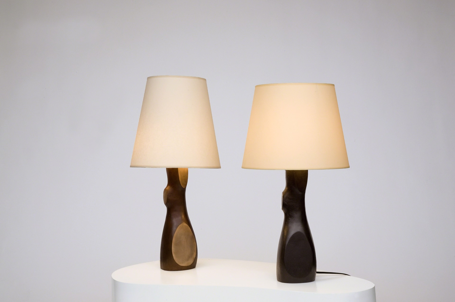 """Togo"" Lamps with natural bronze finish by Jacques Jarrige"
