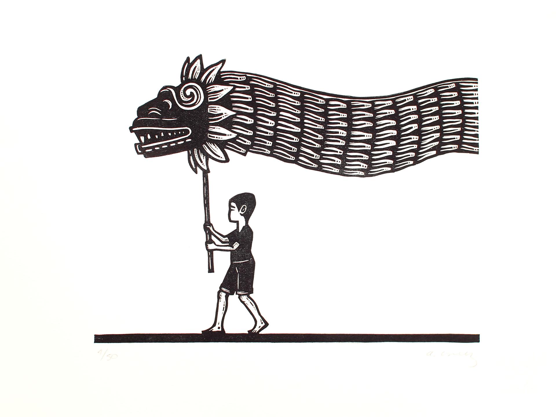 Niño con Quetzalcoatl by Alberto Cruz