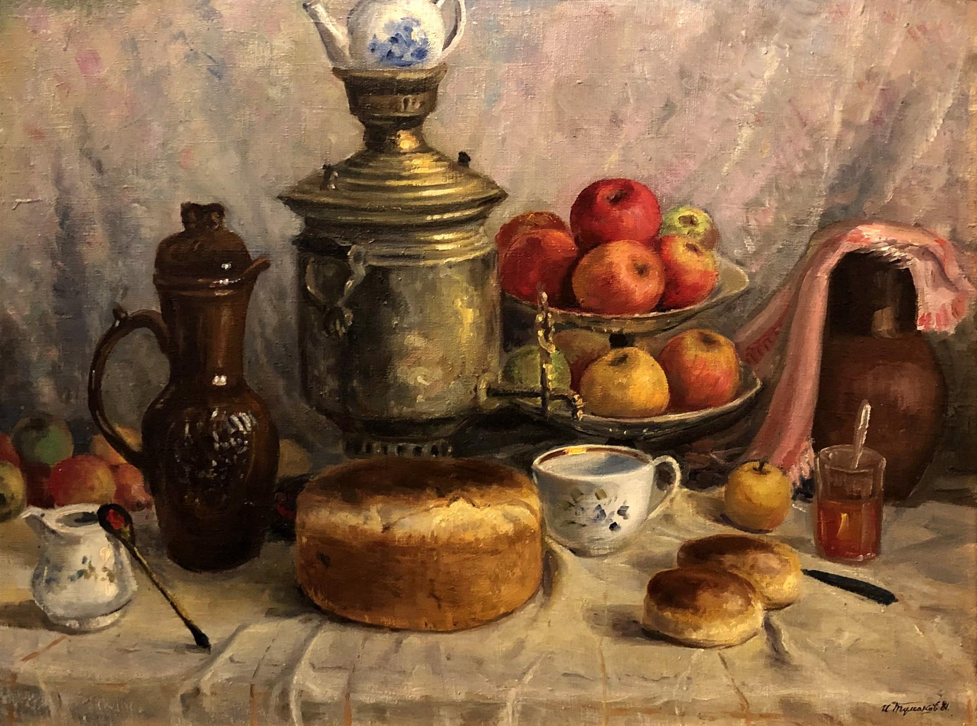Ivan Sergeevich Tumakov - Still Life with Samovar by Russian Artists