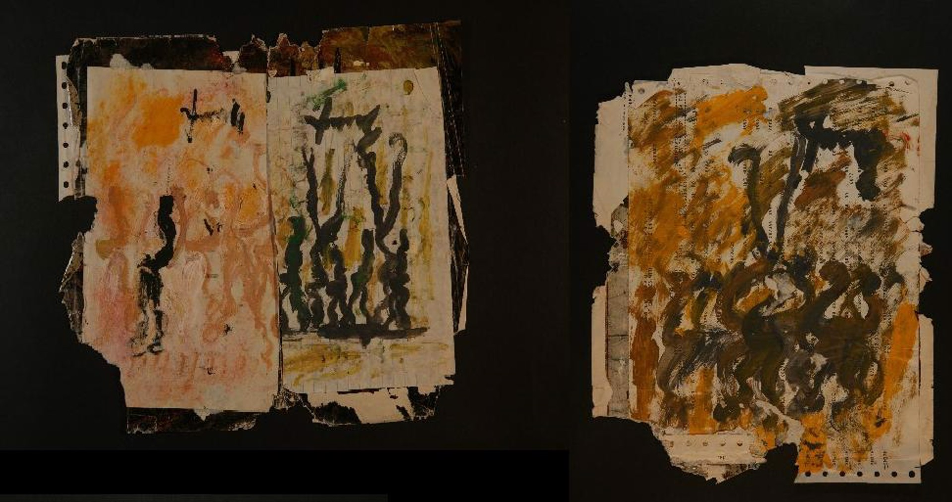 Double Side Drawing #16  A & B by Purvis Young (1943 - 2010)