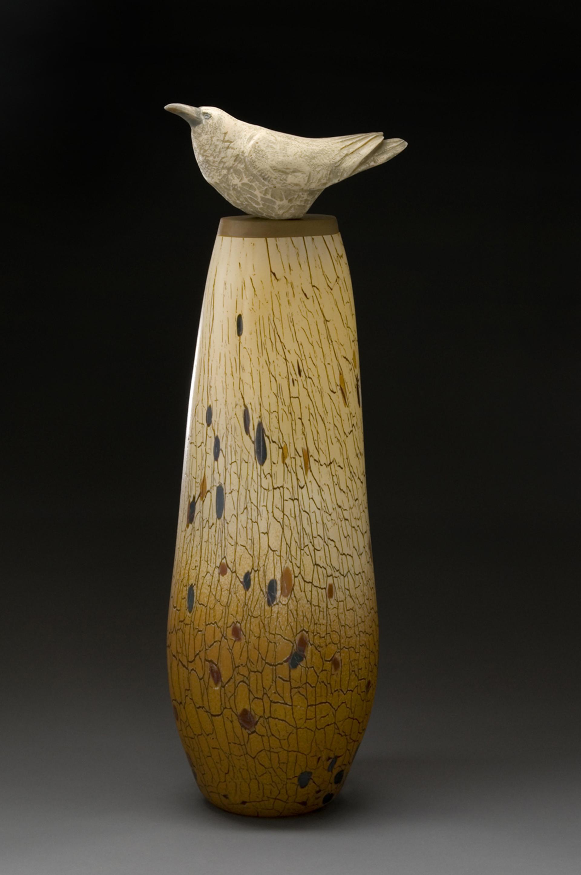 White Raven Spirit Jar by Peter Wright