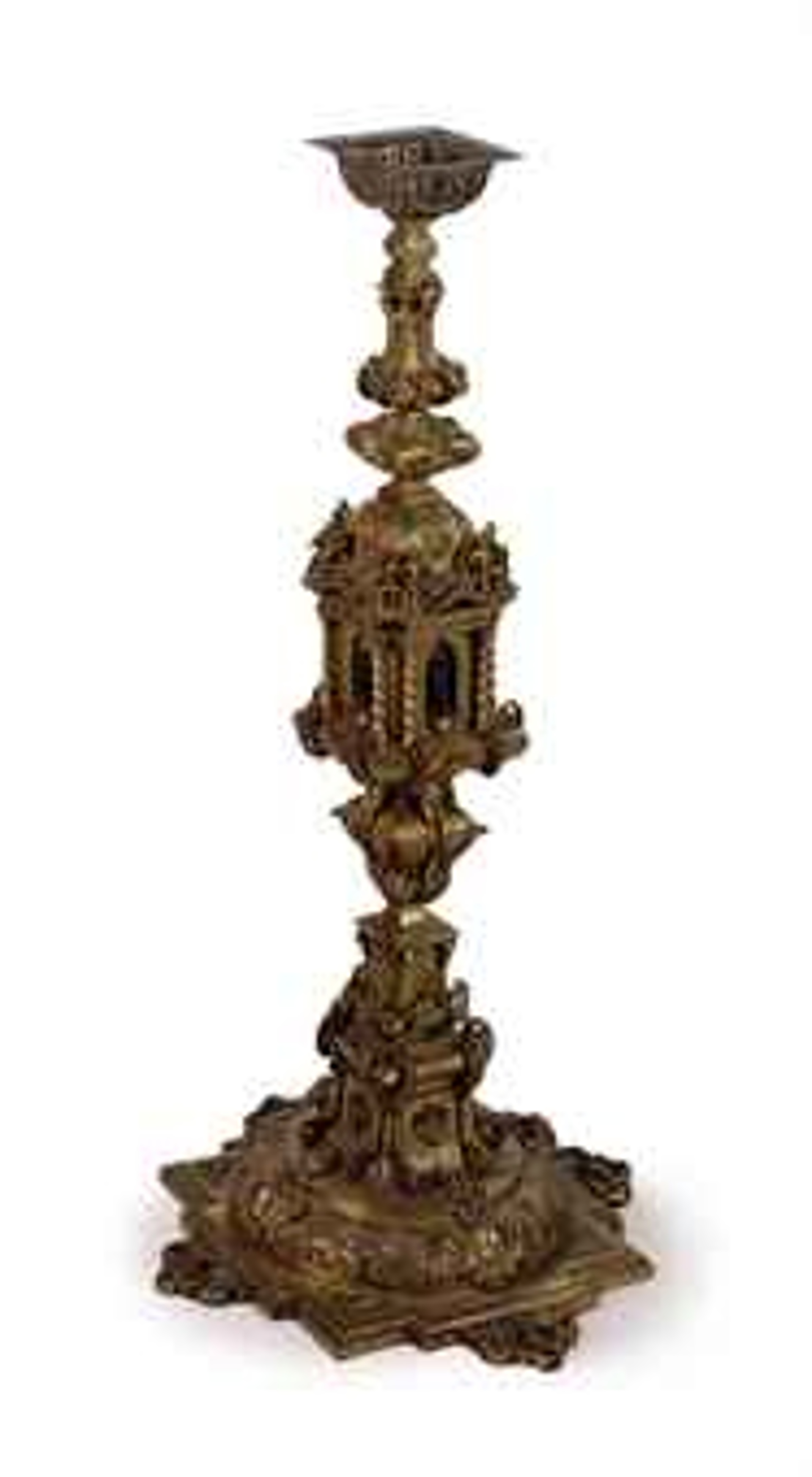 CONTINENTAL GILT-METAL CATHEDRAL TORCHERE
