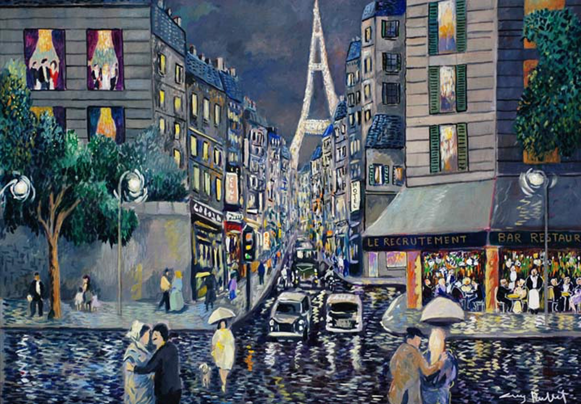 Paris; Rainy Day Rue Saint Dominique by Guy Buffet