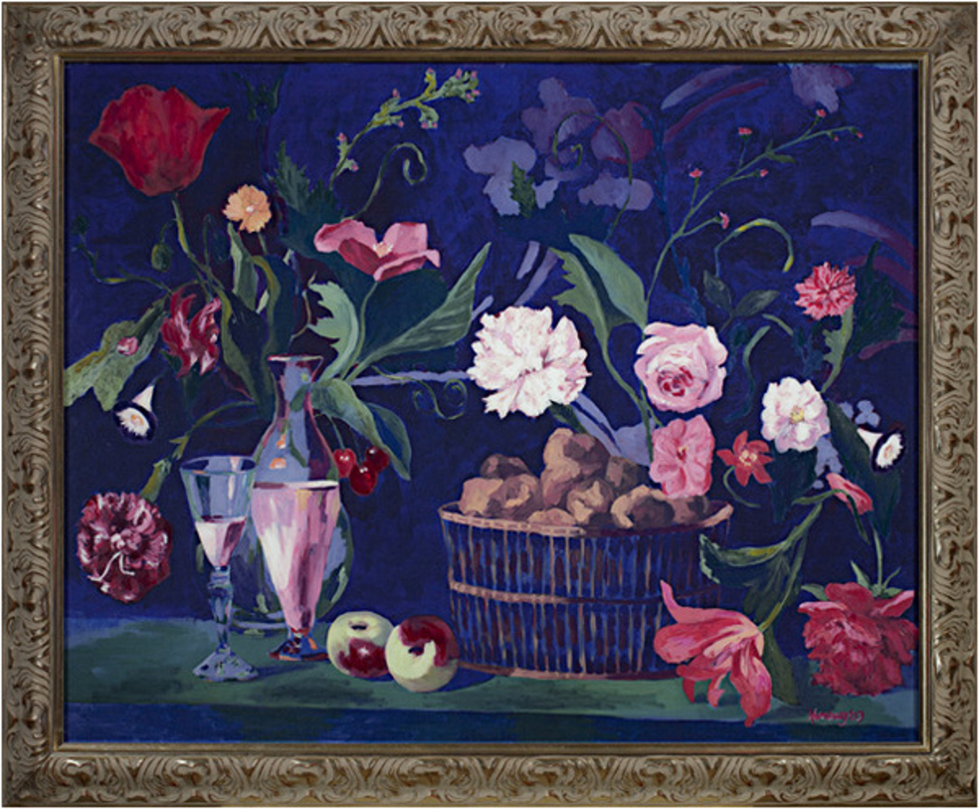 Dutch Floral Still Life With Bread Basket & Fruit by Catherine Holmburg