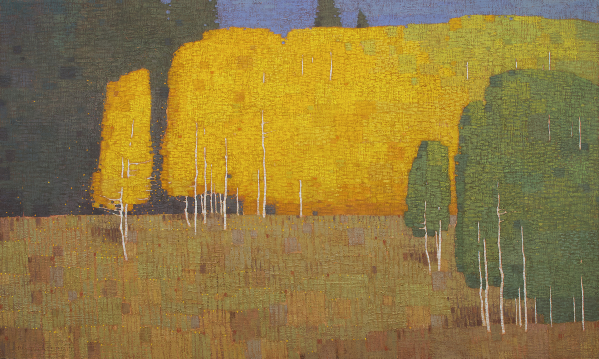 Autumn Morning with Changing Trees by David Grossmann