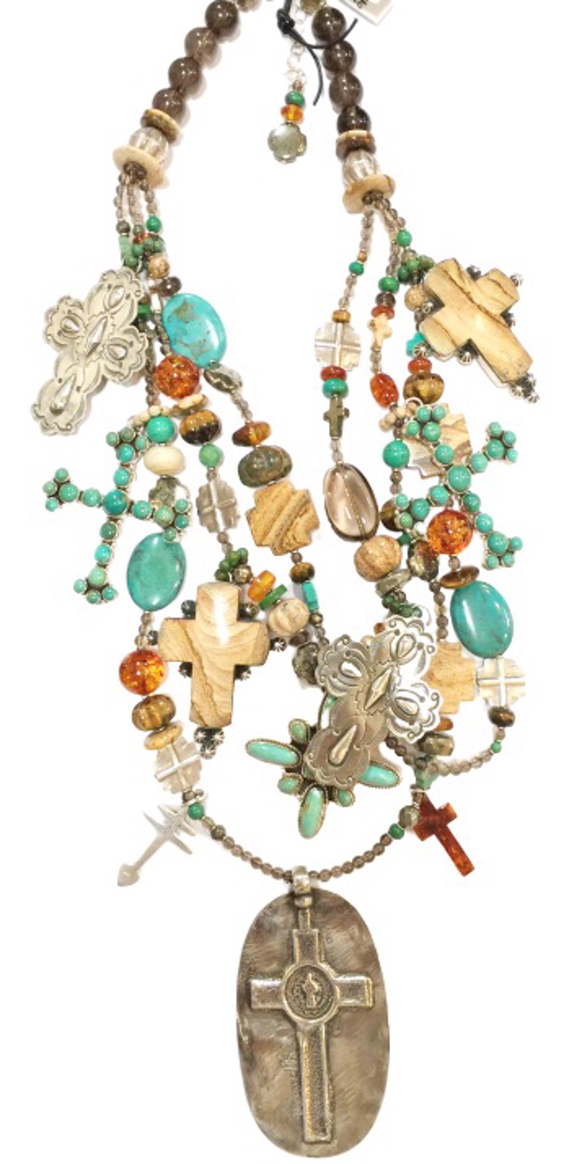KY 1351C - 3 Strand Cross Necklace, Smokey Quartz,Turquoise,Picture Jasper & Sterling Silver by Kim Yubeta