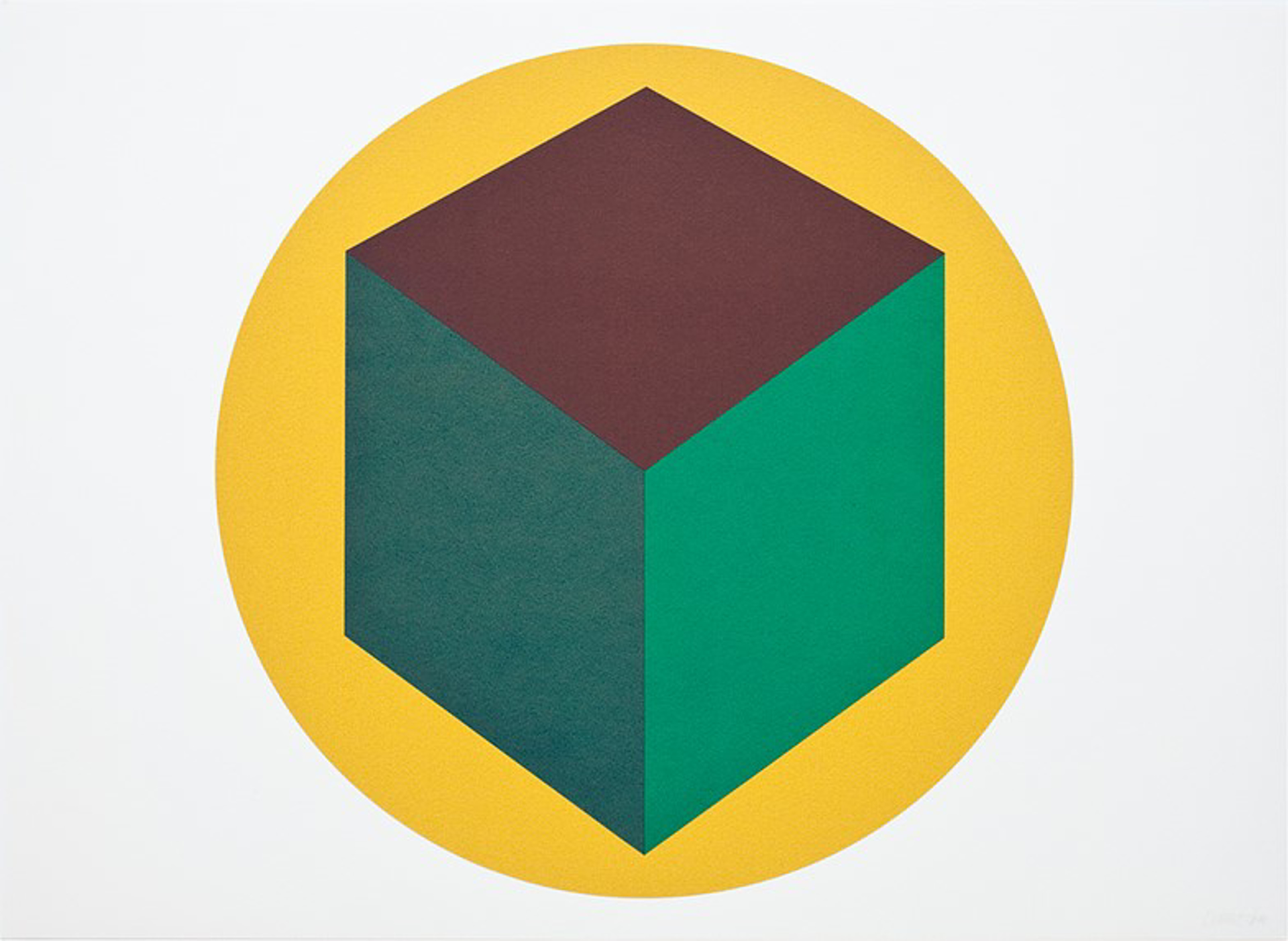 Centered Cube within a Yellow Circle by Sol LeWitt