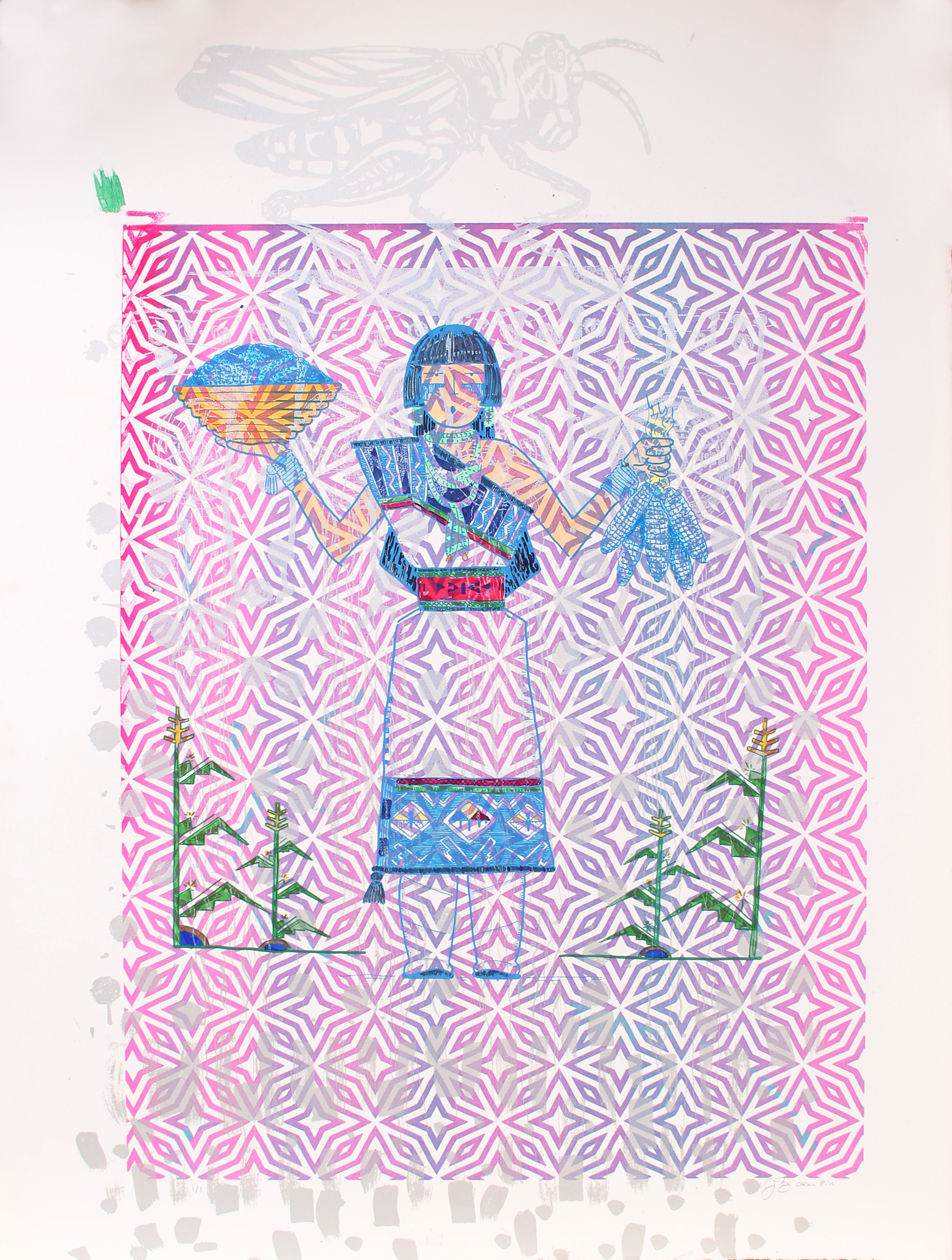 Blue Corn Maiden (Framed) by Jason Garcia