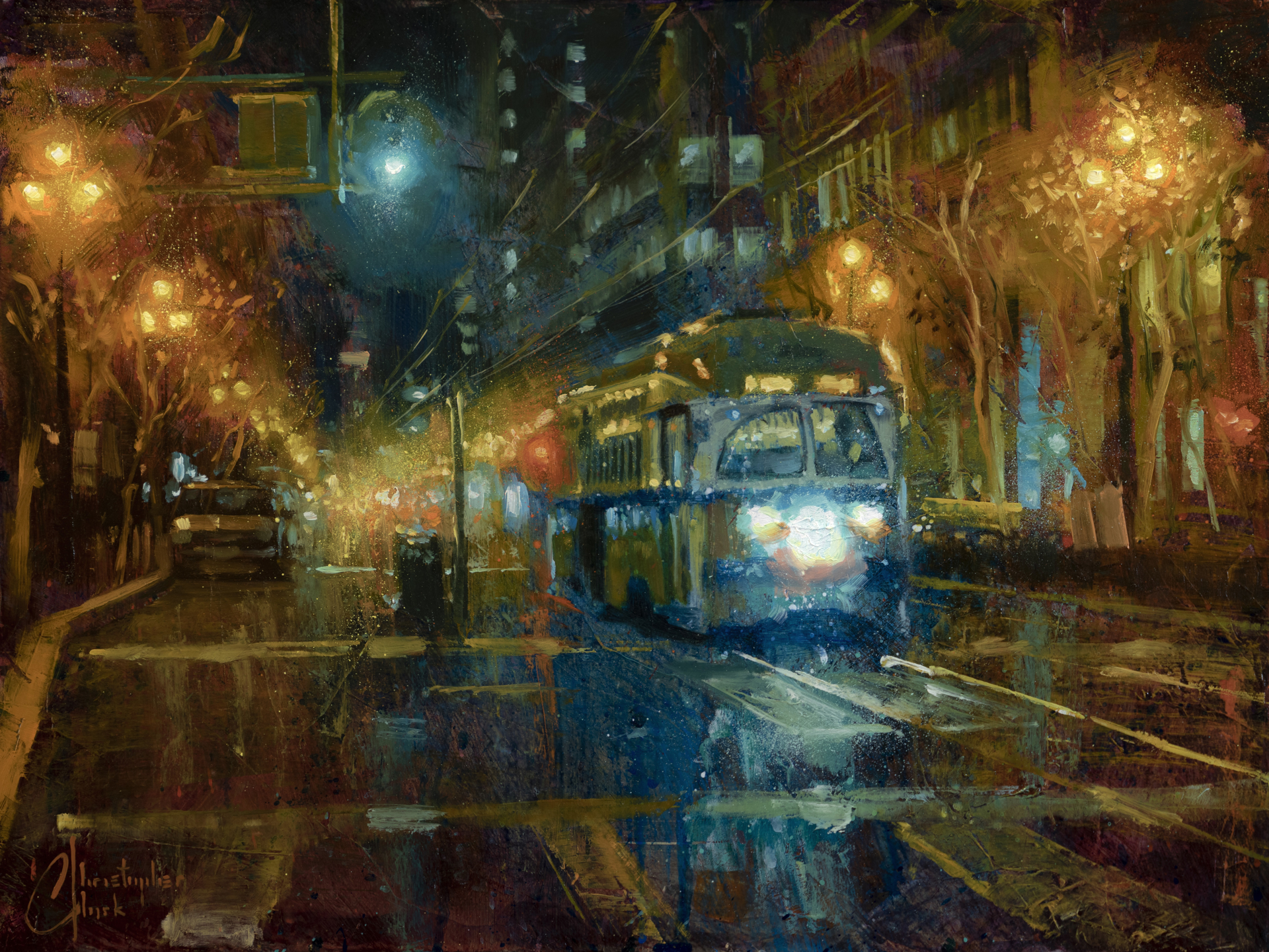 San Francisco Trolley at Night by Christopher Clark
