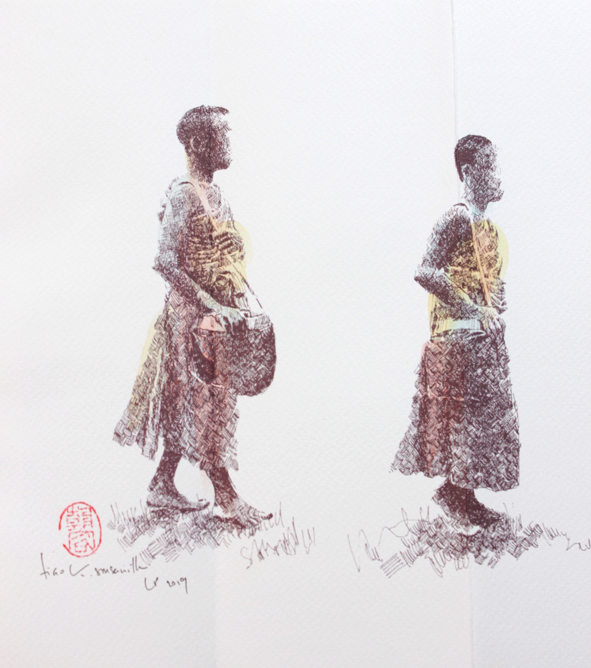 Alms Giving Procession: Print Series I by Tiao Nithakhong Somsanith