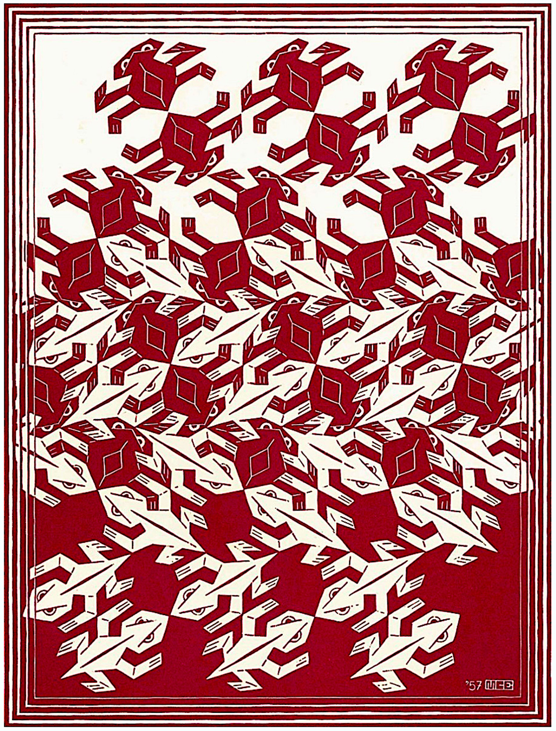 Regular Division of the Plane V Red by M.C. Escher