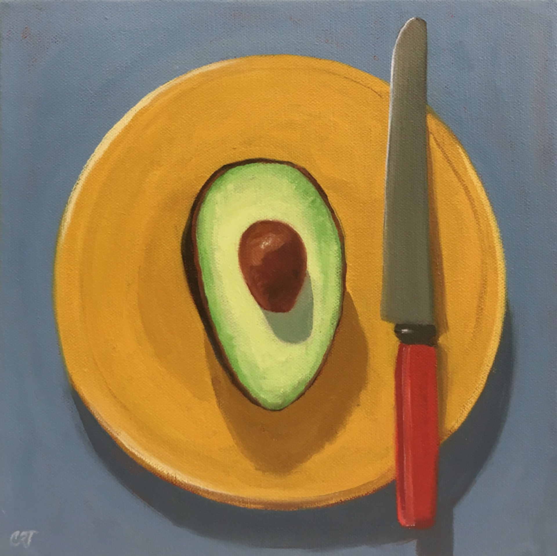 Avocado with Red Knife by Carol Thompson