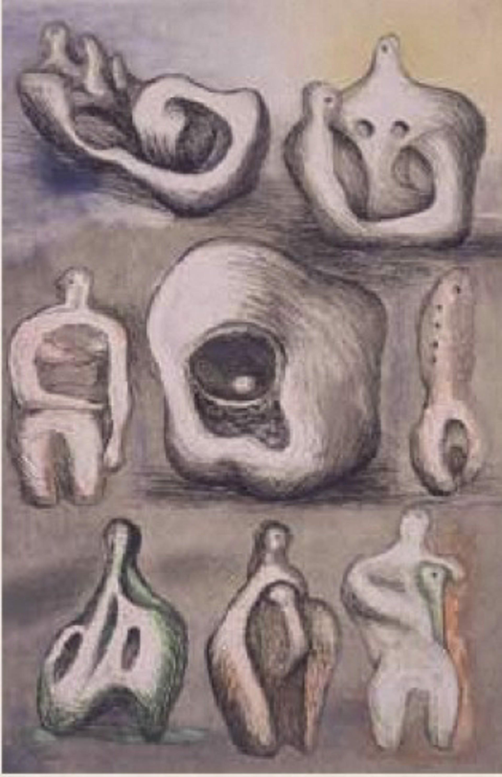 Eight Sculptural Studies by Henry Moore