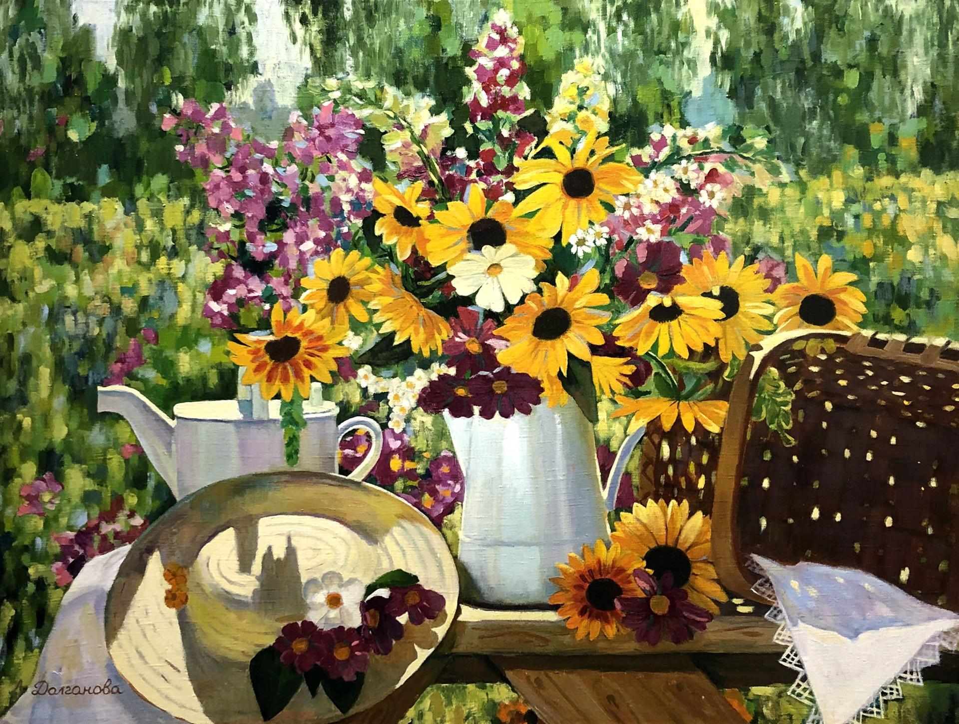 Lilia Anatolionva Dolgonova - Still Life Sunflowers by Russian Artists
