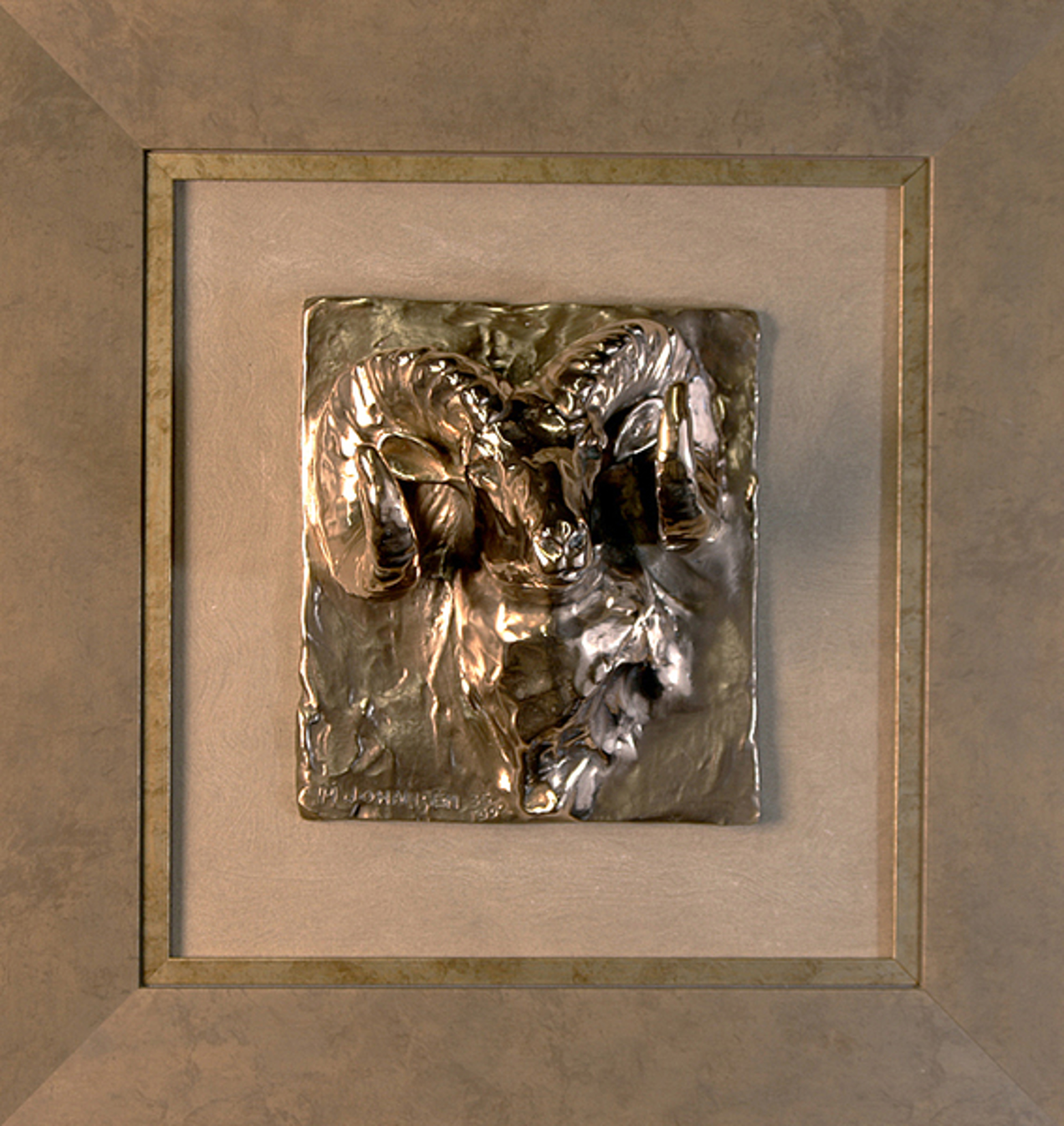 Ram Head Framed Relief by Melvin Johansen