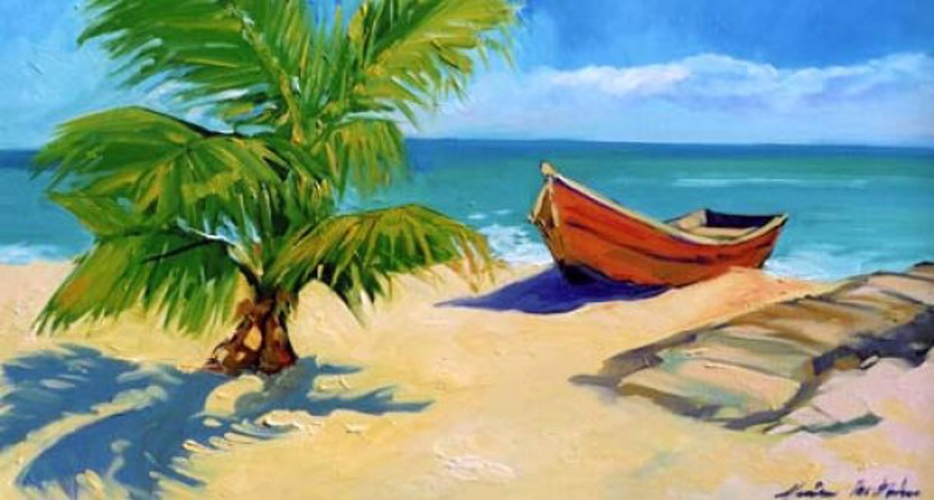 Bertran: Sunny Beach Fishing Boat by Maria Bertrán