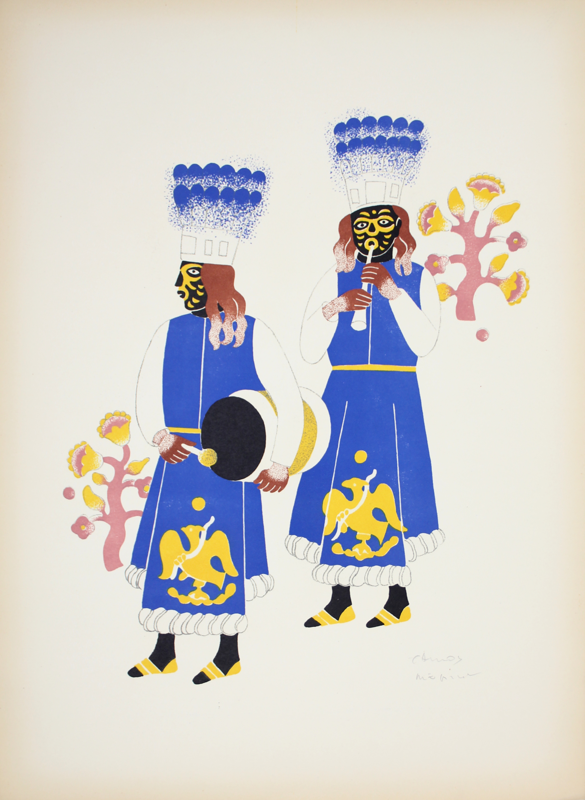 Two Men From Huejotzingo by Carlos Mérida (1891 - 1985)