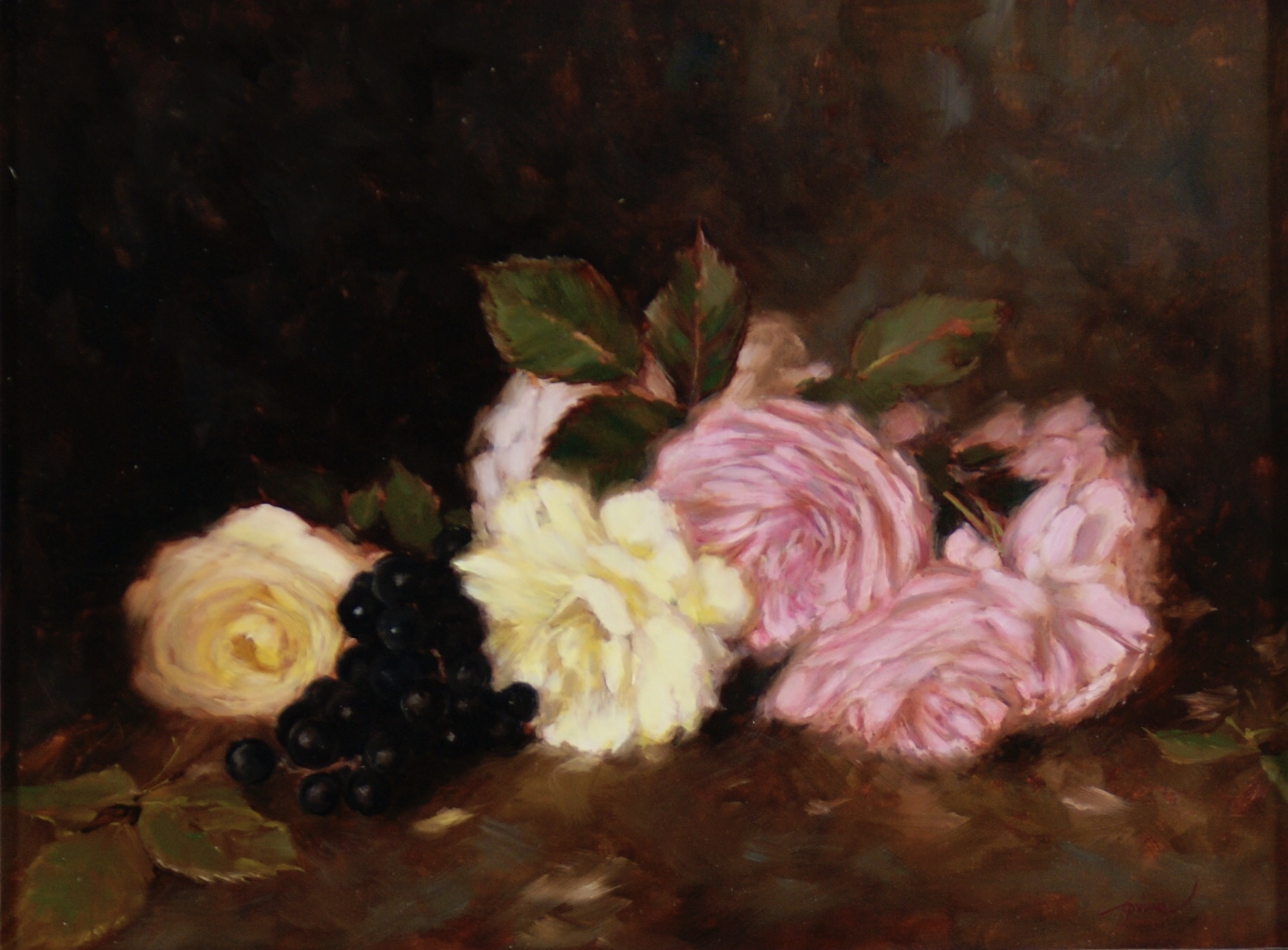 Roses with Grapes by Carla Paine