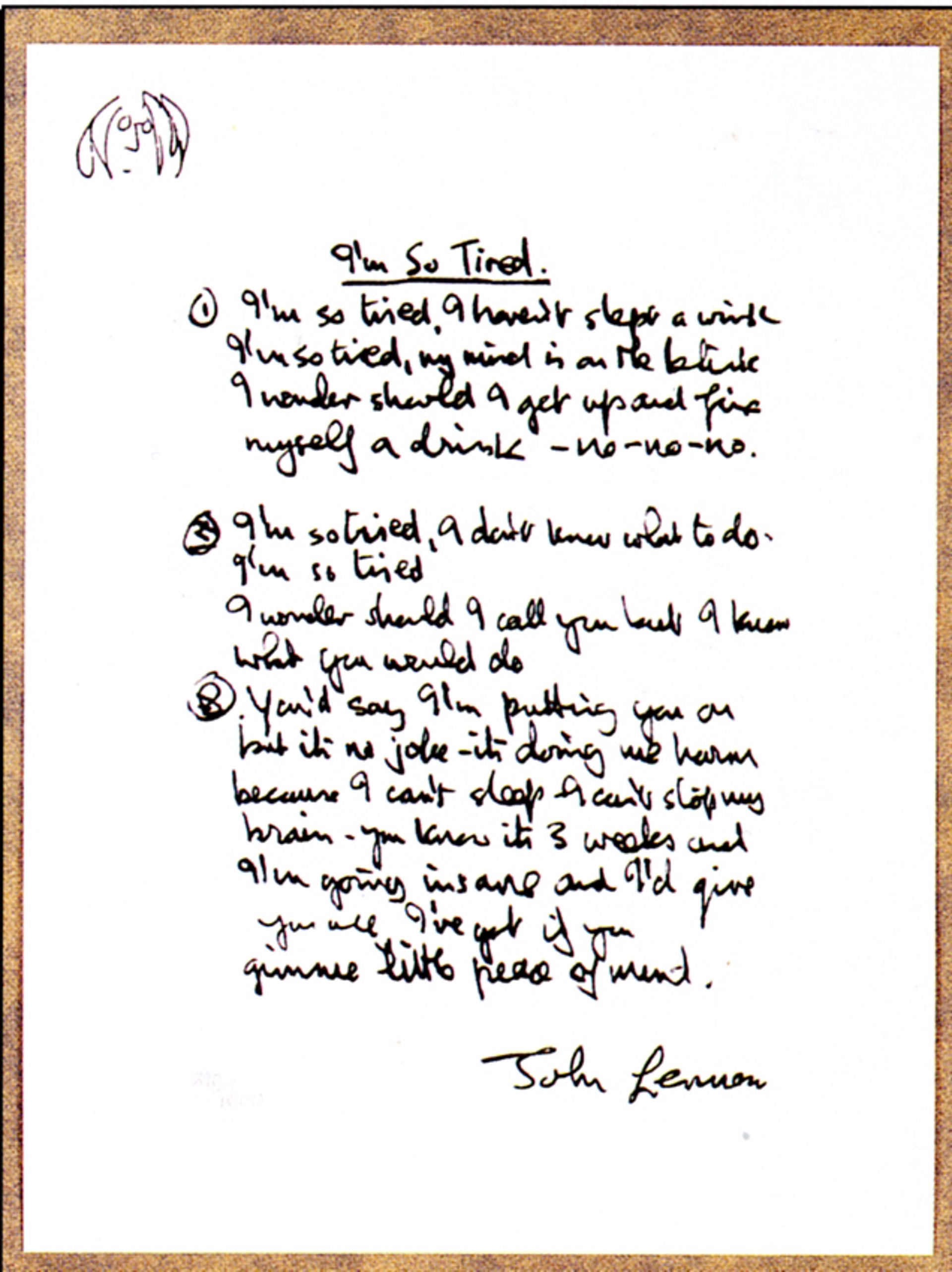 """I'm So Tired"" Lyrics by John Lennon"