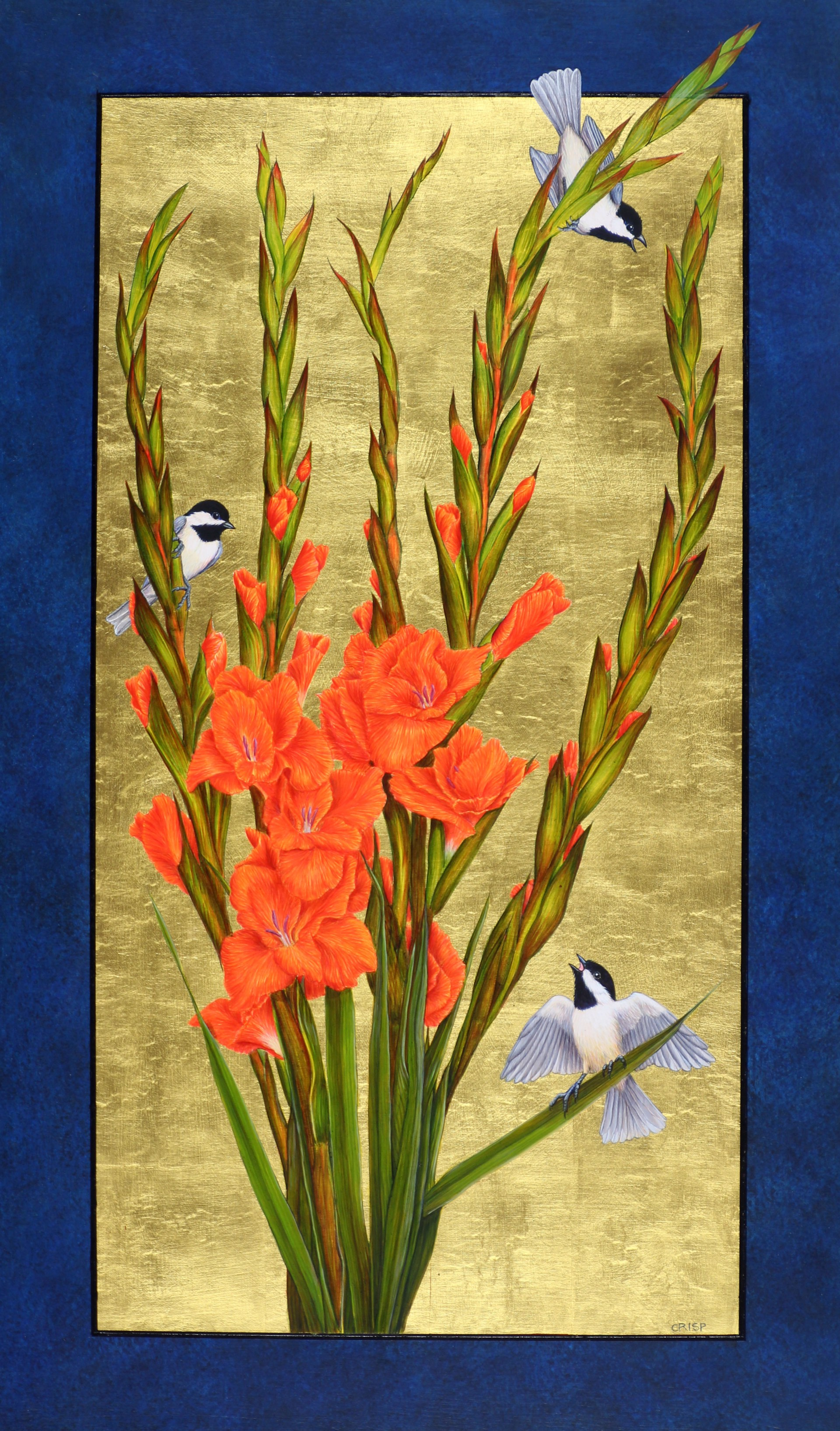 Gladiolus and Carolina Chickadees by Margie Crisp