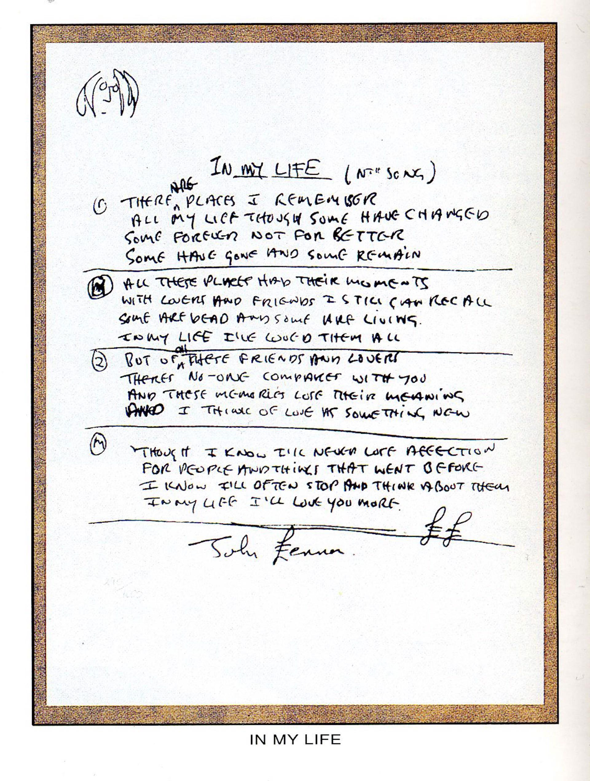 """In My Life"" Lyrics by John Lennon"