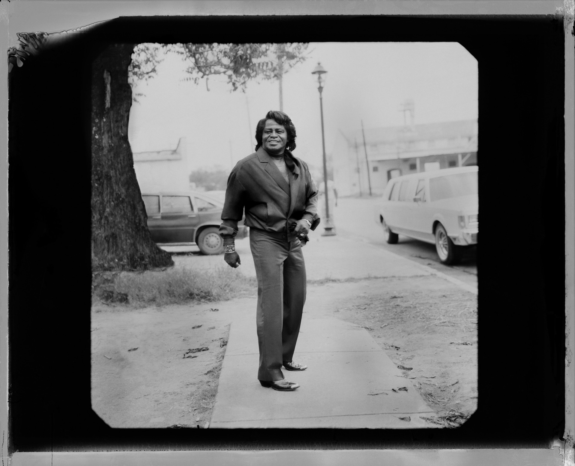 91046 James Brown Outside the Limo 665 F11 BW by Timothy White