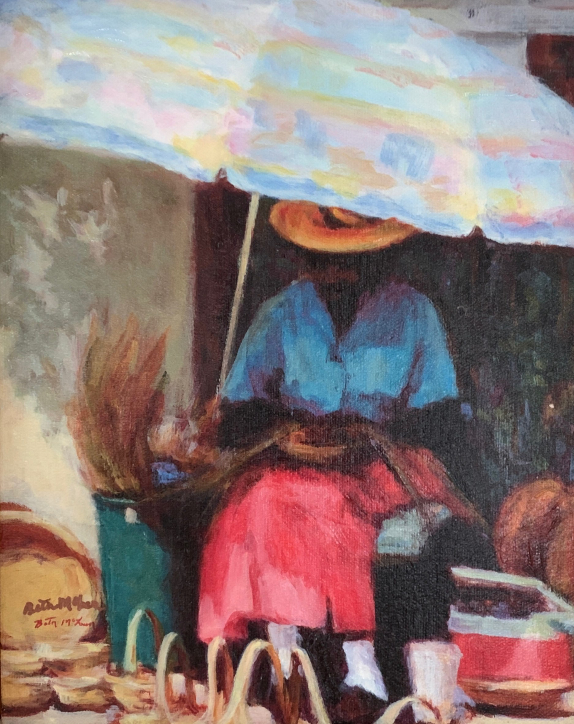 Basket Lady with Pink Skirt by Beth McLean -- Giclee Prints