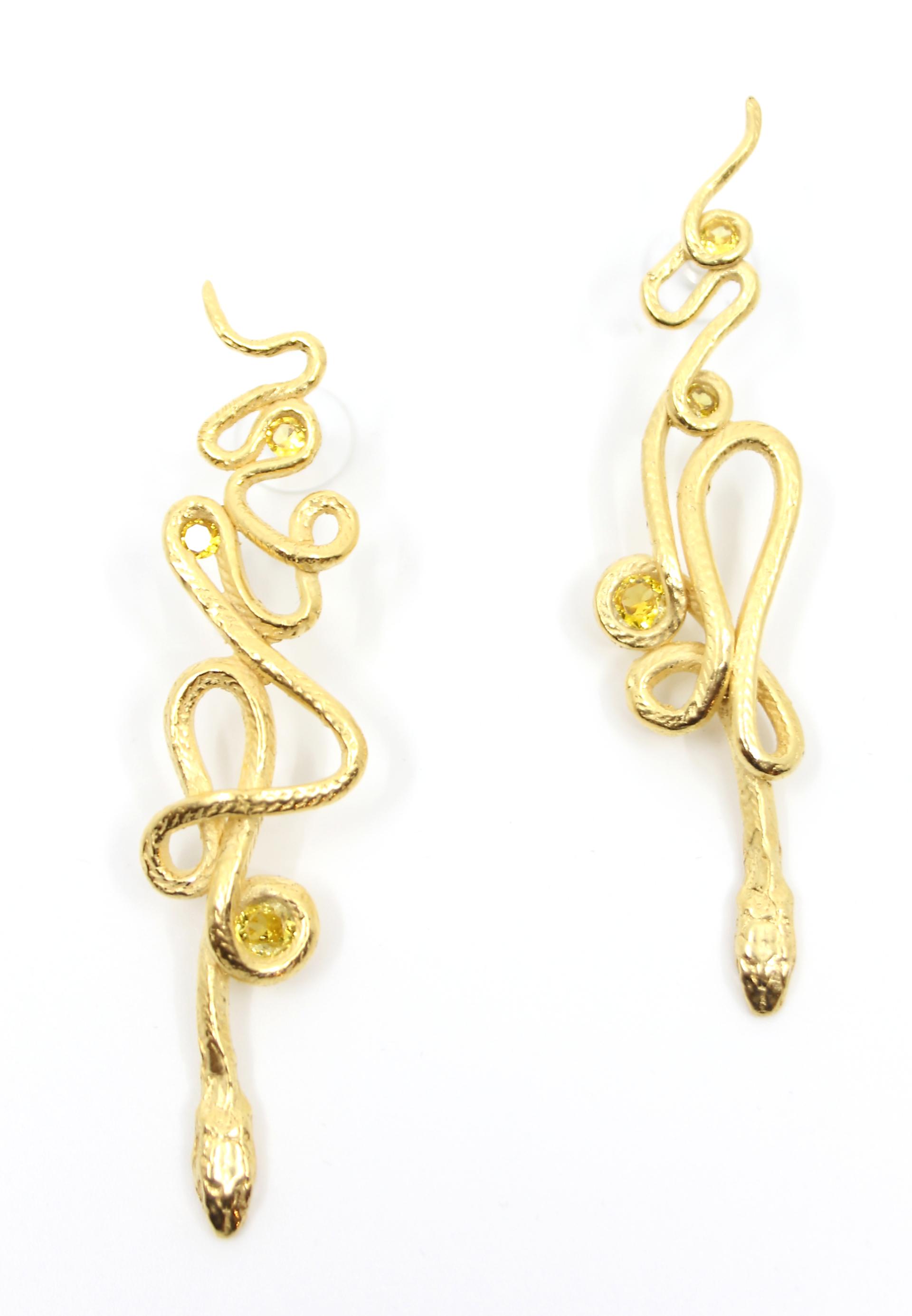 Gold Topaz Serpentine Earrings by Anna Johnson