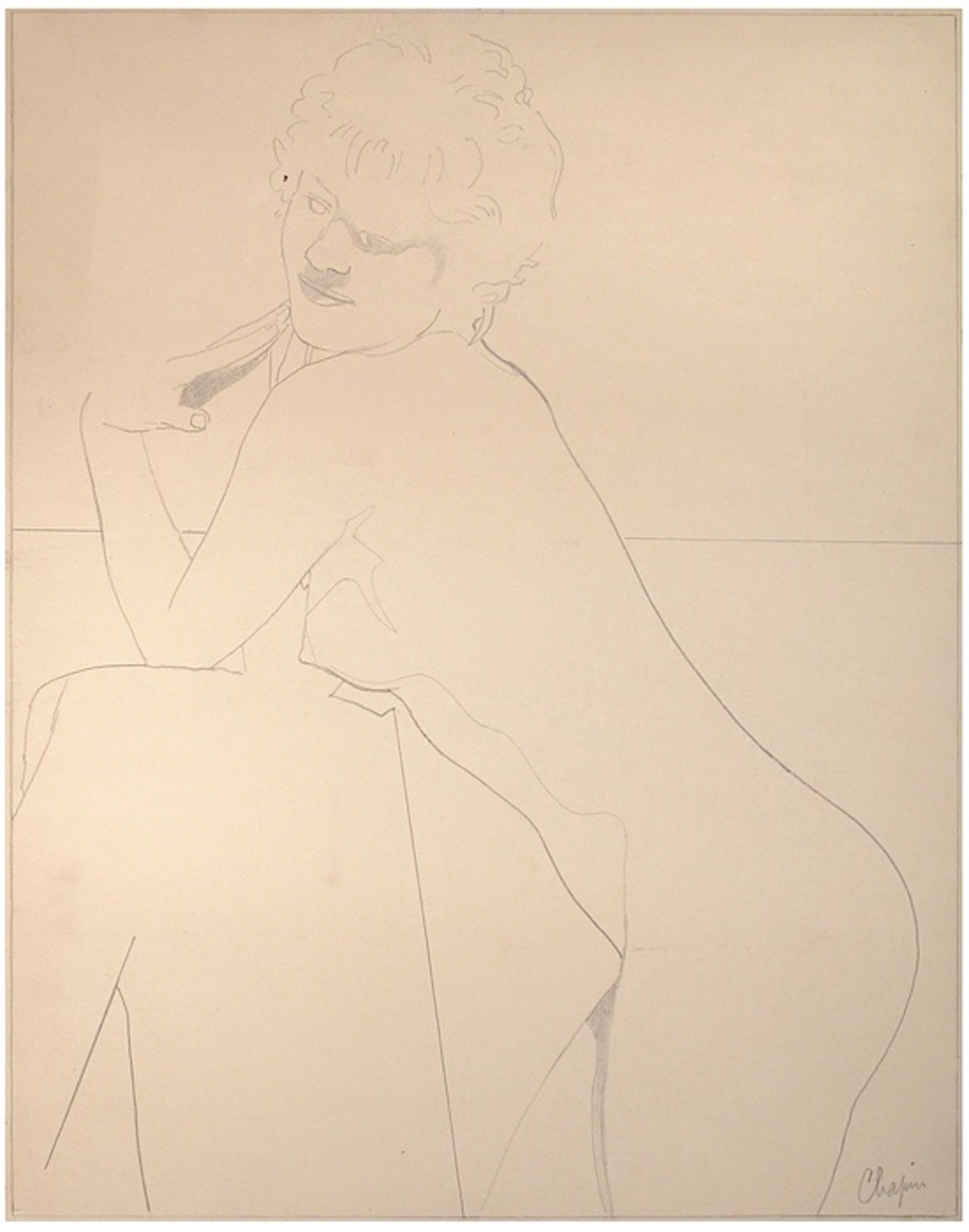 Nude Leaning in Profile by David Chapin