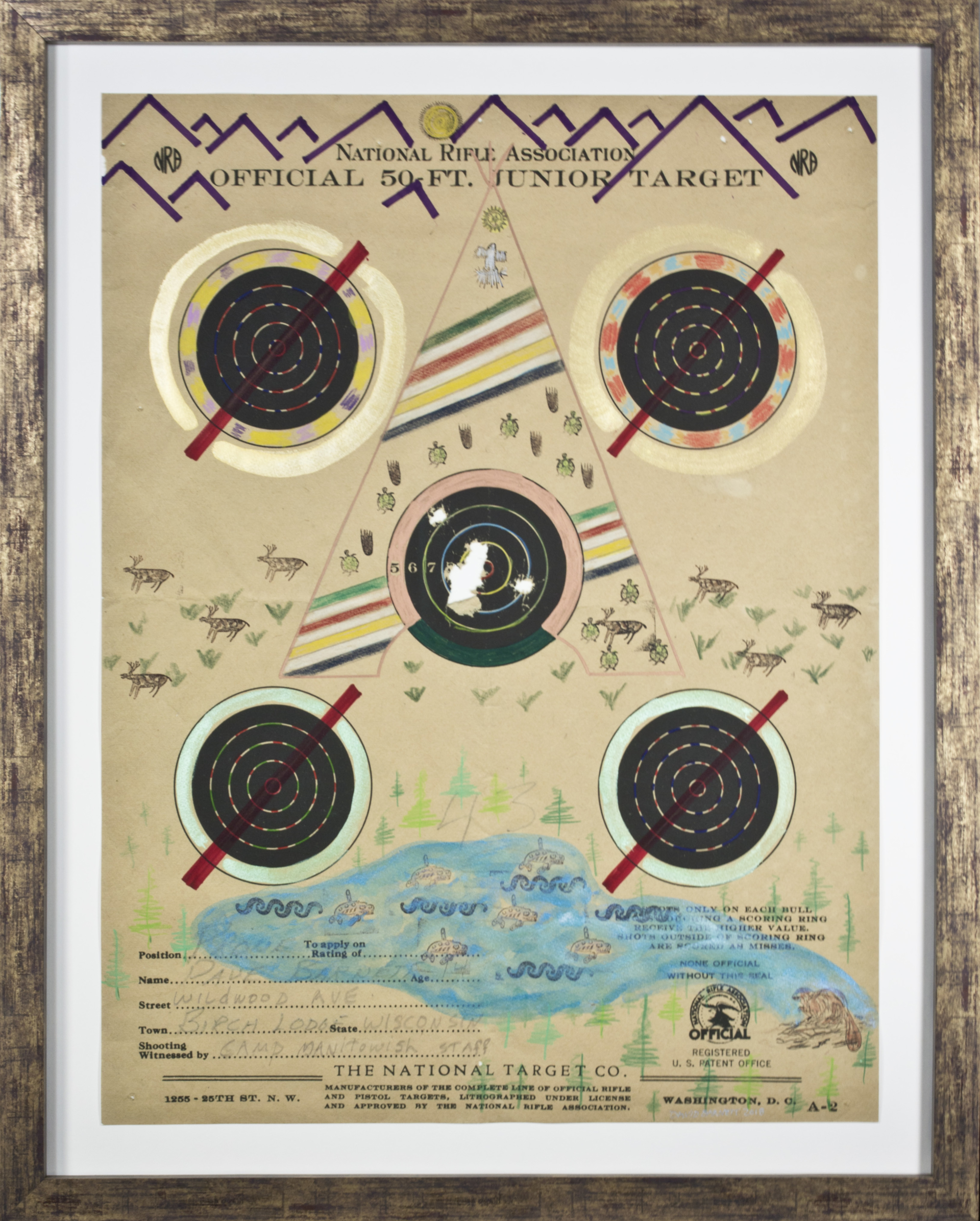 Target Series No. 8: No More Shootings, No More Guns Targeet Tee Pee with Hudson Bay Blanket, Purple Mountain Range and Ocean with Whales by David Barnett