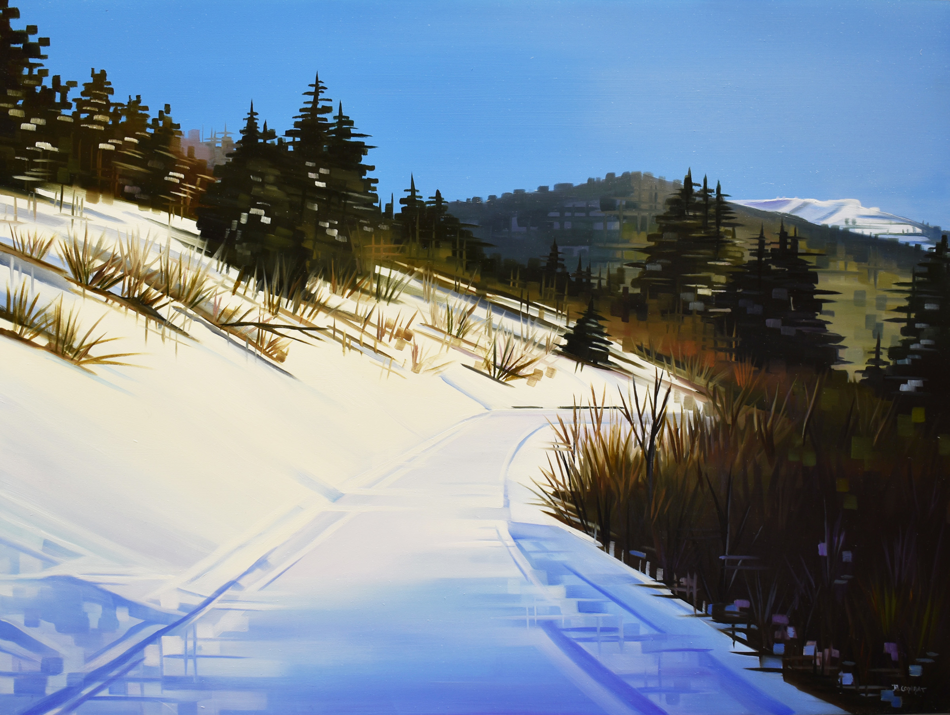 Landscape Oil painting by Michelle Condrat | Title: Winter Journey | Year created: 2020 | Medium Oil on panel Size: 8 x 24 in Price: $3,200.00