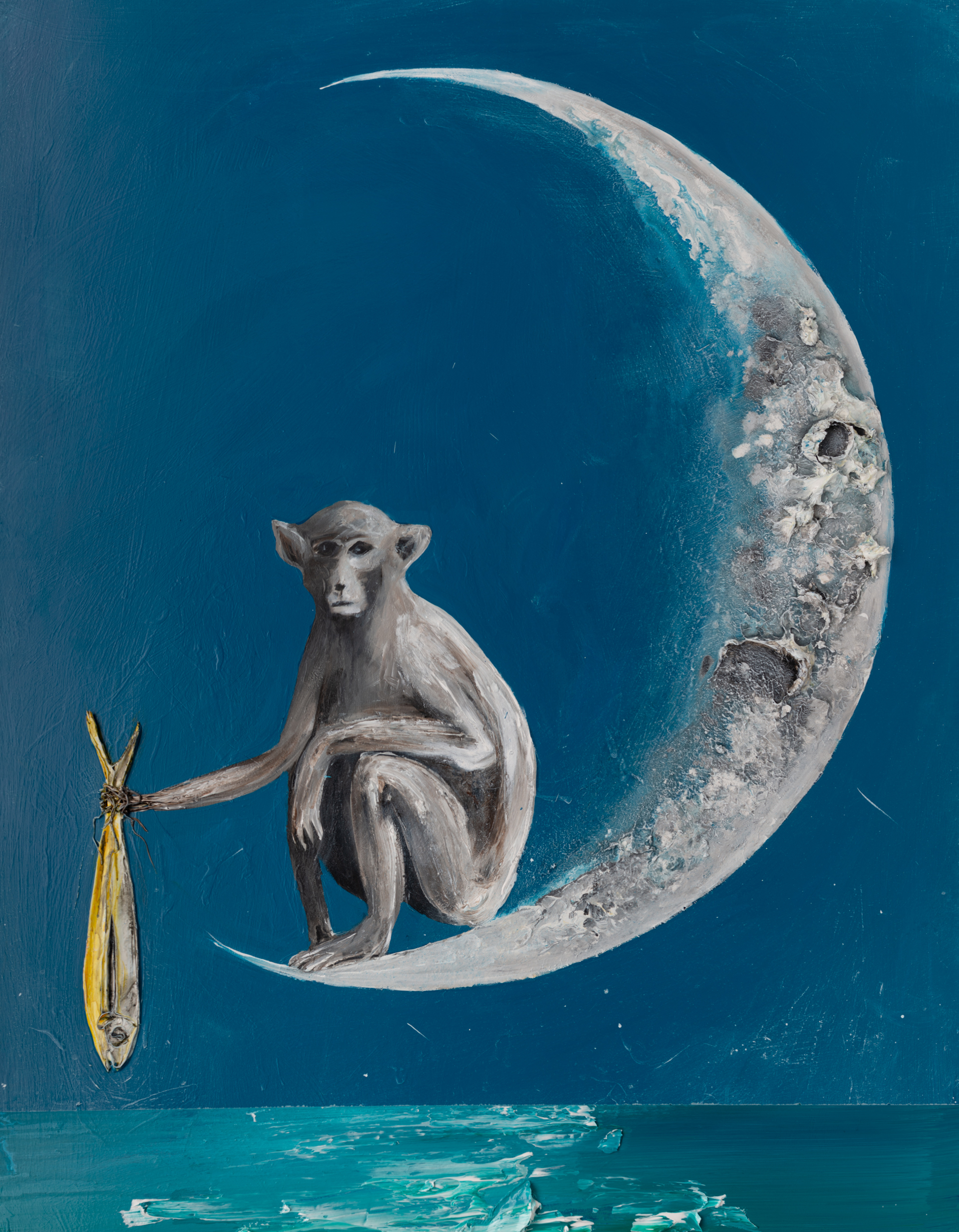 (SOLD)MONKEY ON THE MOON MS-30X40-2019-314