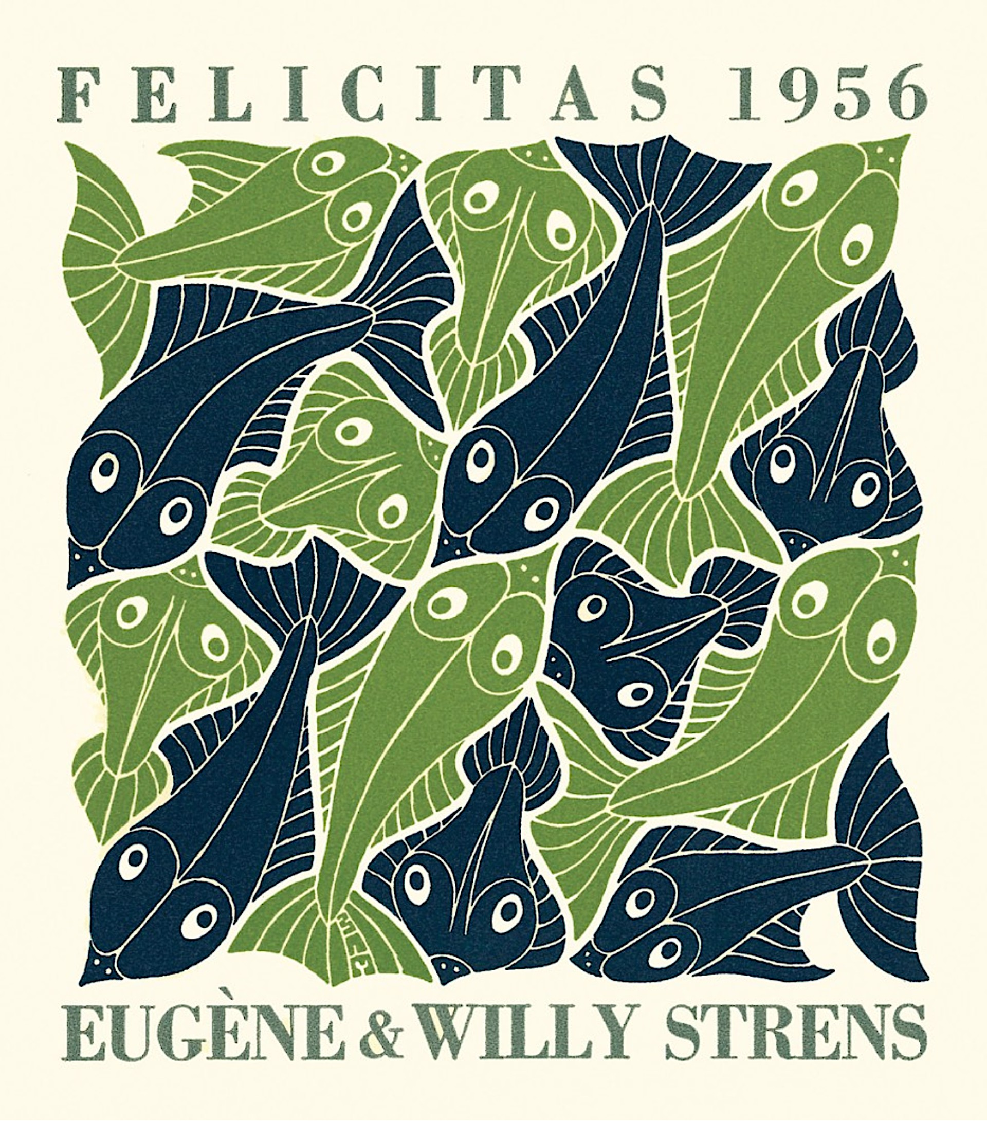Water - Strens New Year's Greeting Card (Fish) by M.C. Escher