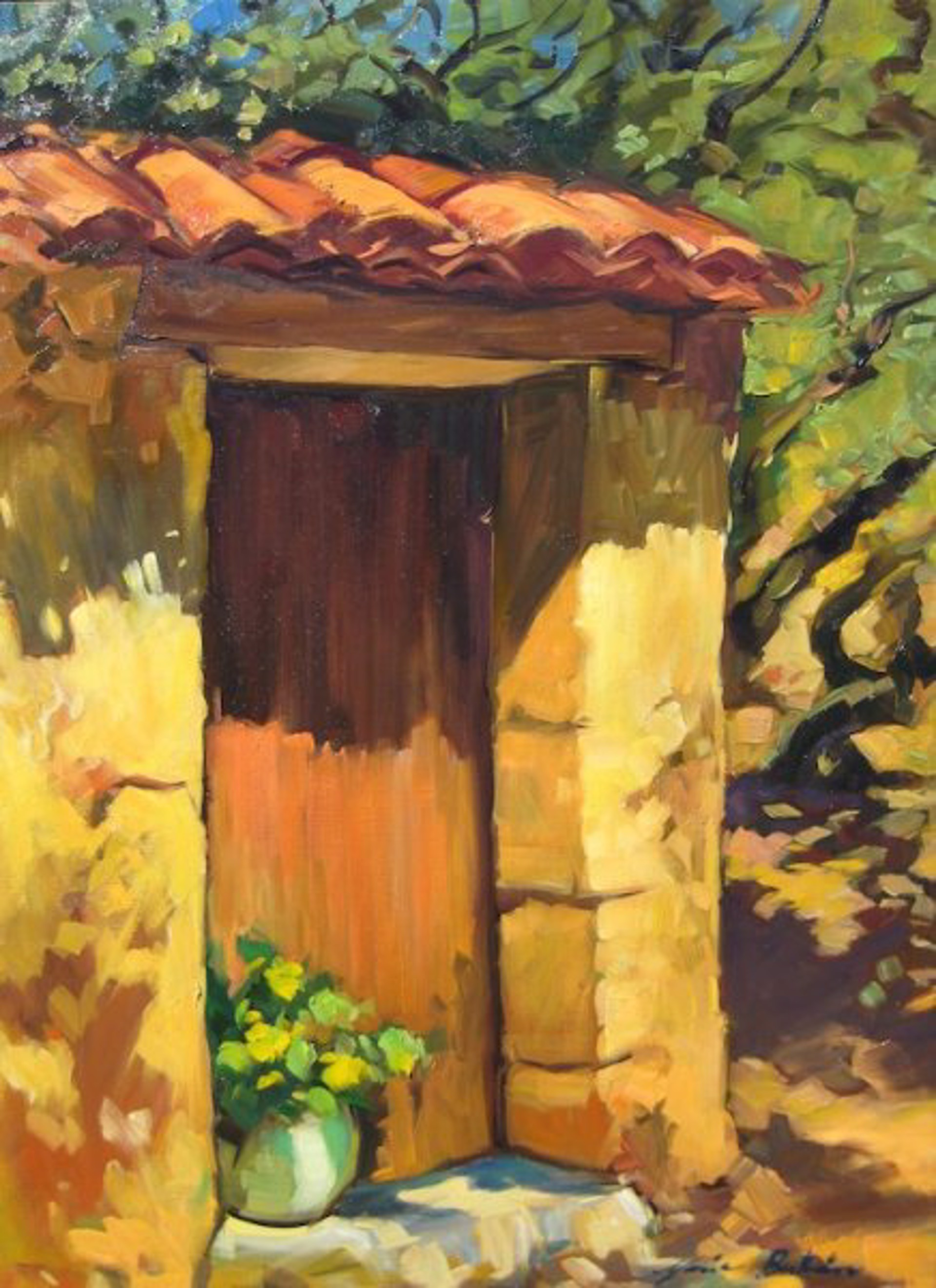 Flowers In The Provencal Doorway by Maria Bertrán