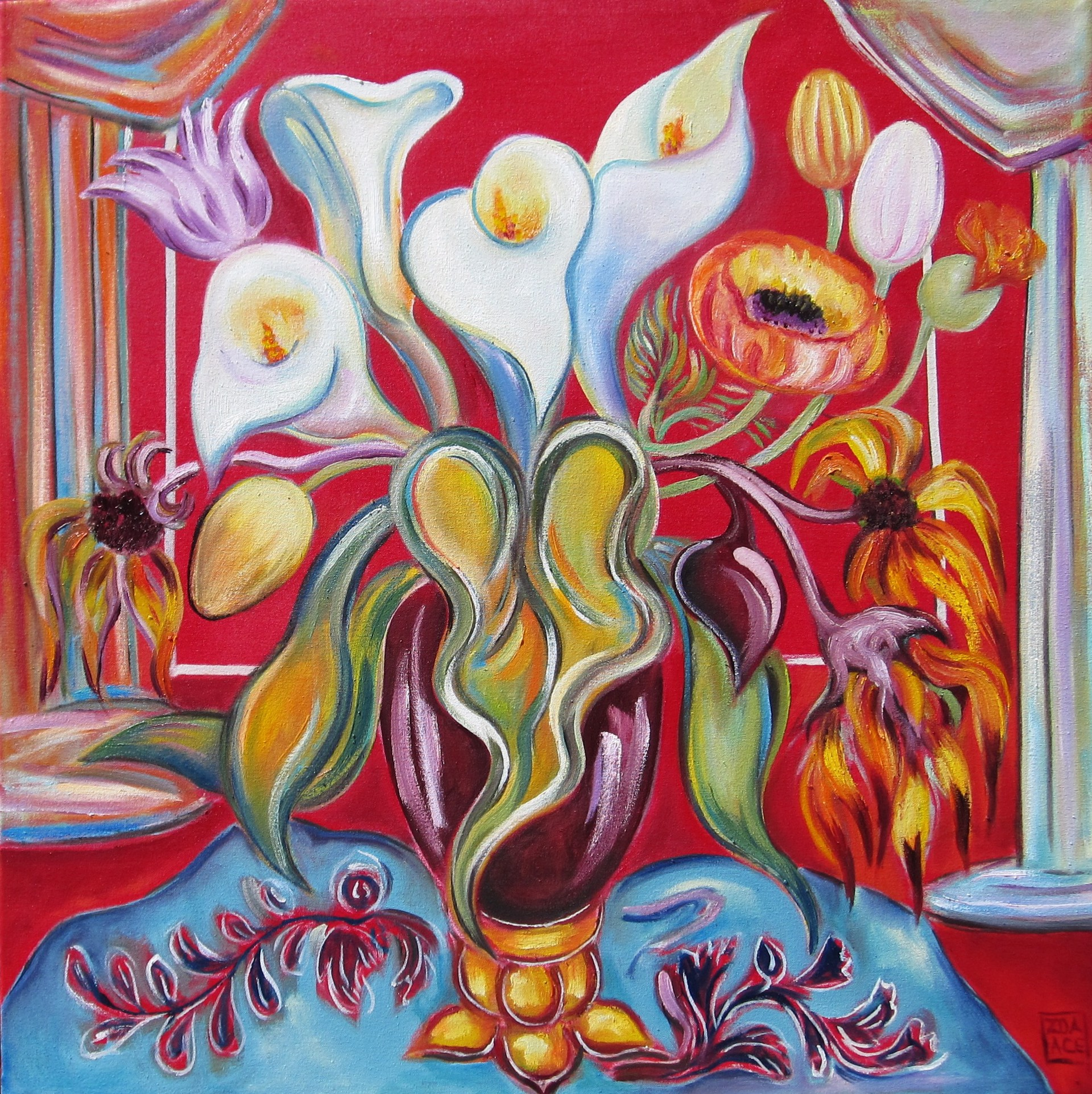 Still Life on Red by Zoa Ace