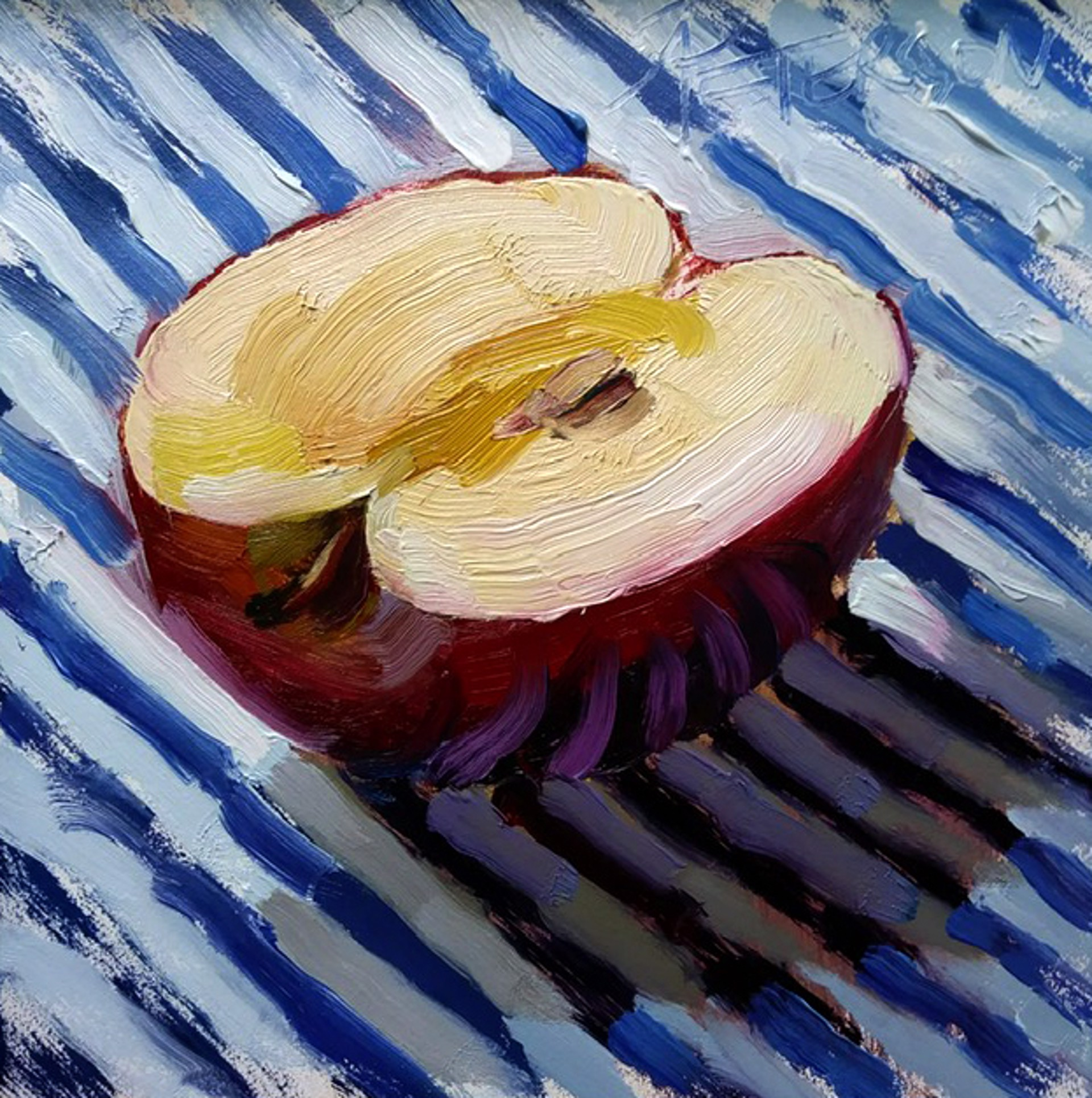 Apple, White and Blue by Amy R. Peterson