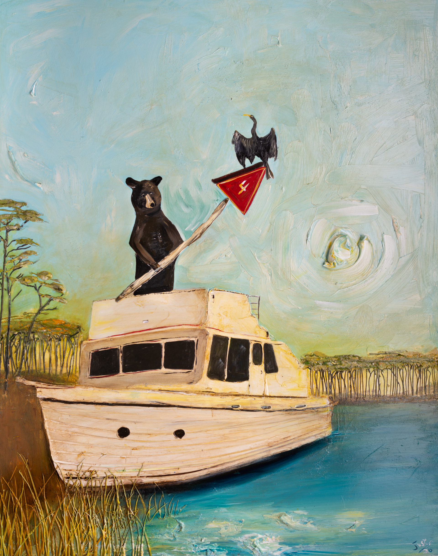HOGTOWN BEAR AND SNAKE BIRD LS-48x60-2020-076 by JUSTIN GAFFREY