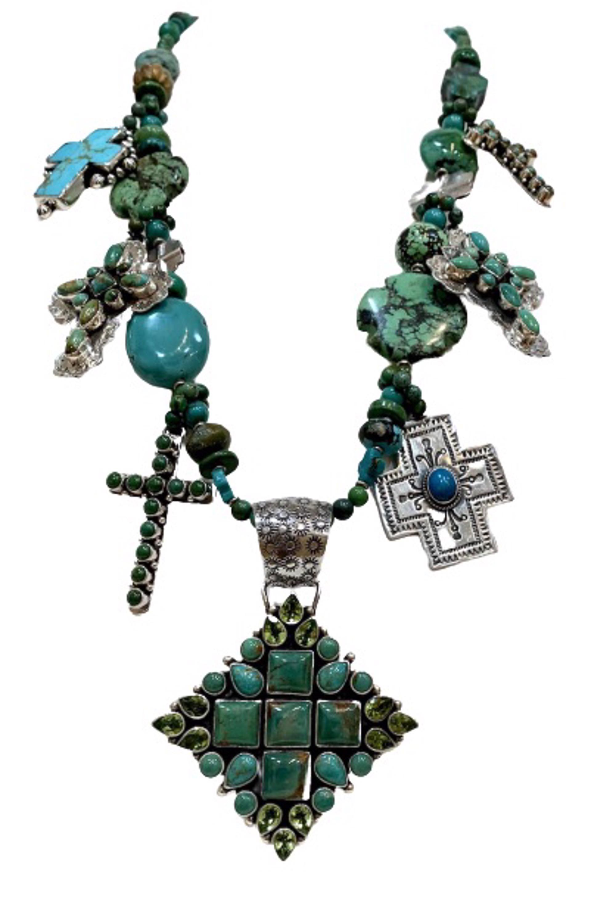 KY 1360 - Single Strand Turquoise with Peridot Crosses by Kim Yubeta